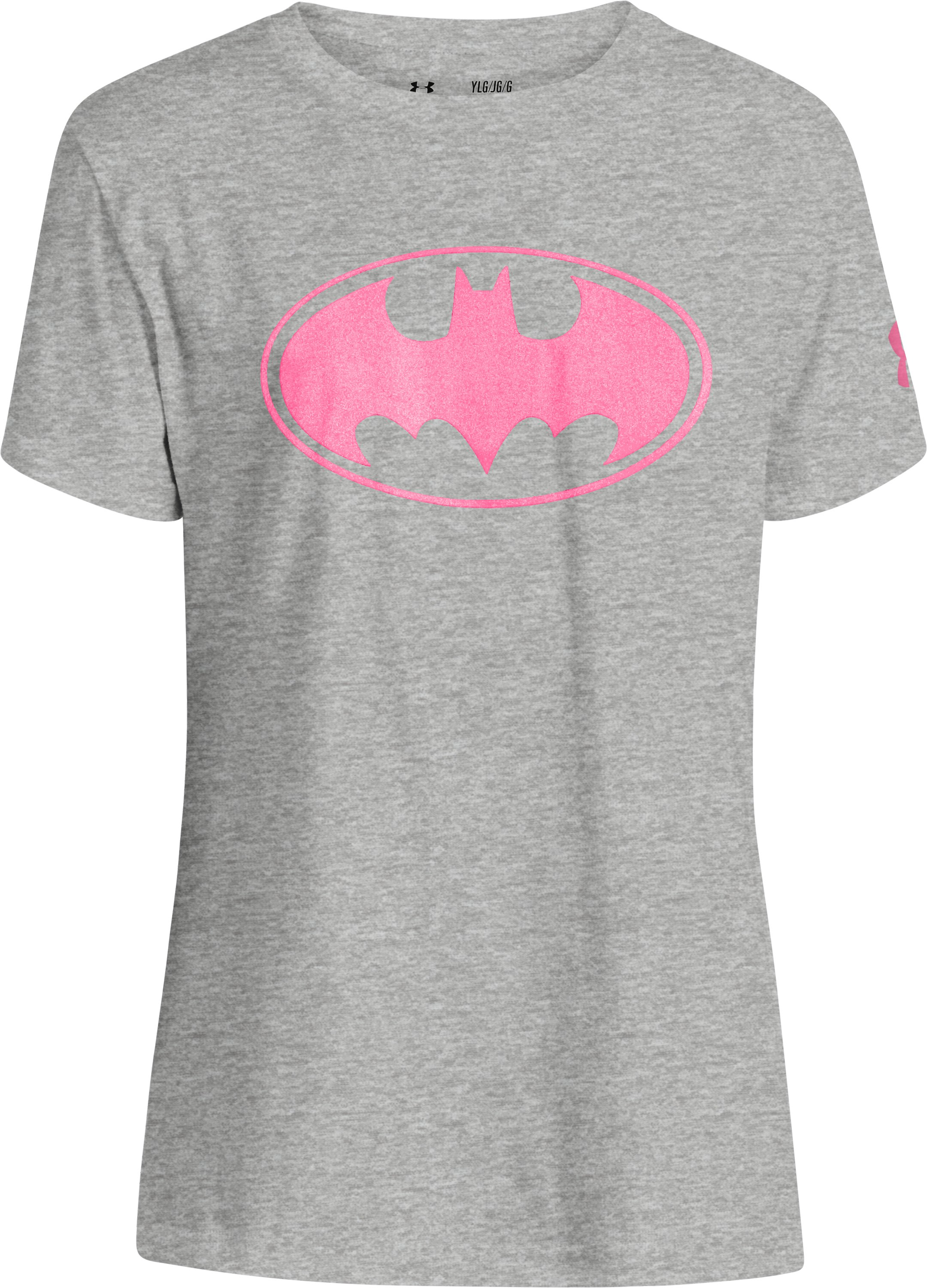Girls' Under Armour® Alter Ego Batgirl Sparkle T-Shirt, True Gray Heather, zoomed image