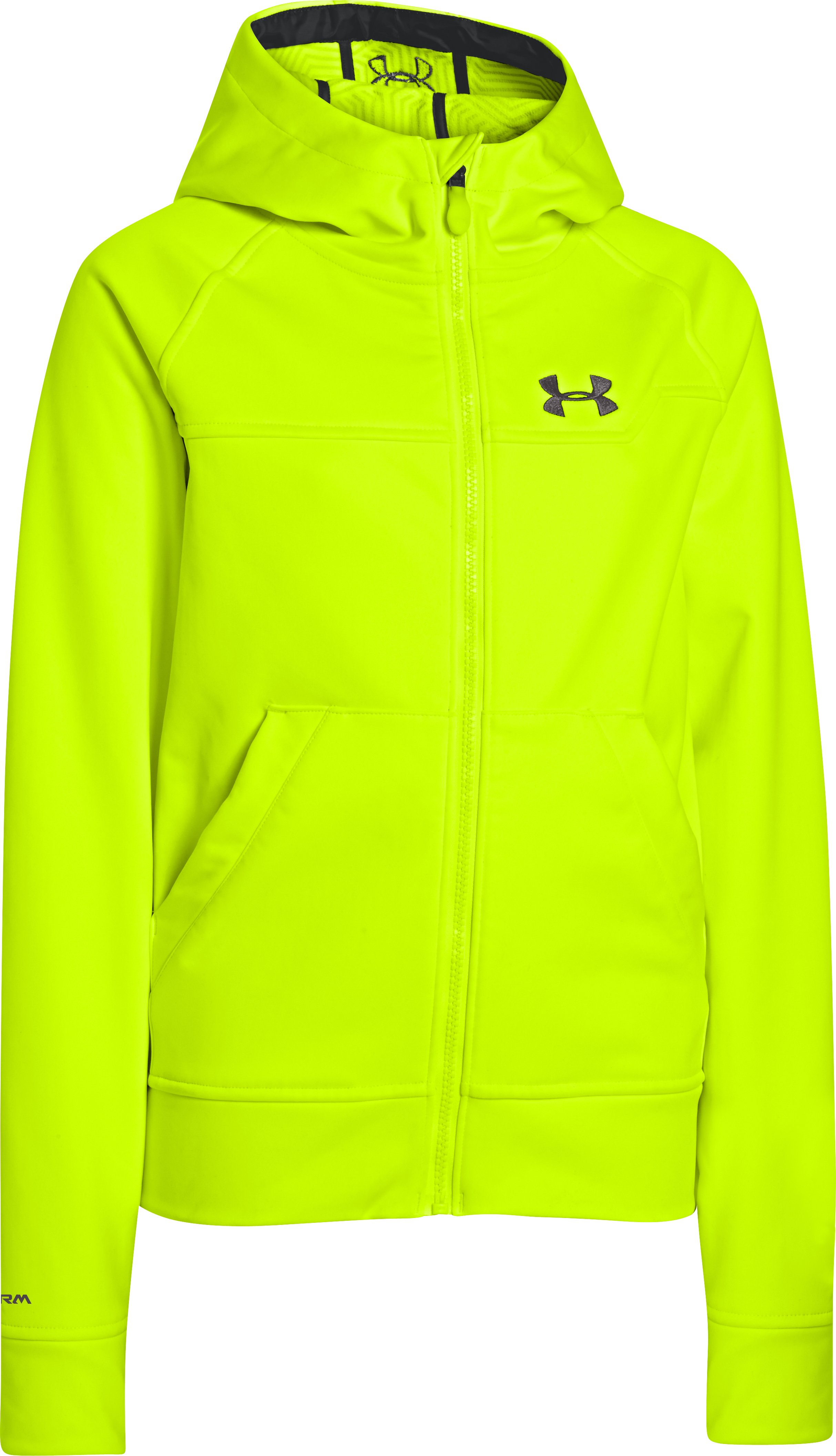 Boys' UA Storm ColdGear® Infrared Softershell Hoodie, High-Vis Yellow