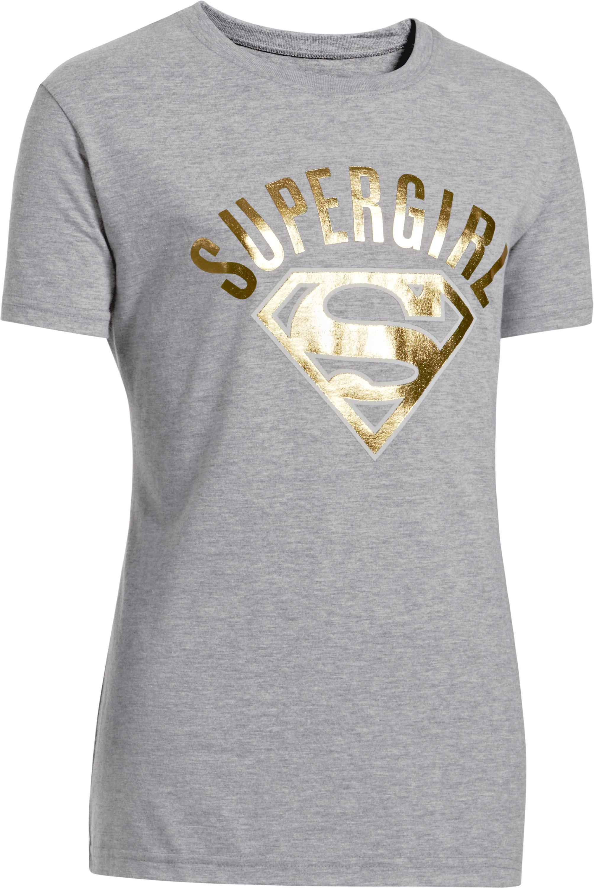 Girls' Under Armour® Alter Ego Supergirl Foil T-Shirt, True Gray Heather, zoomed image