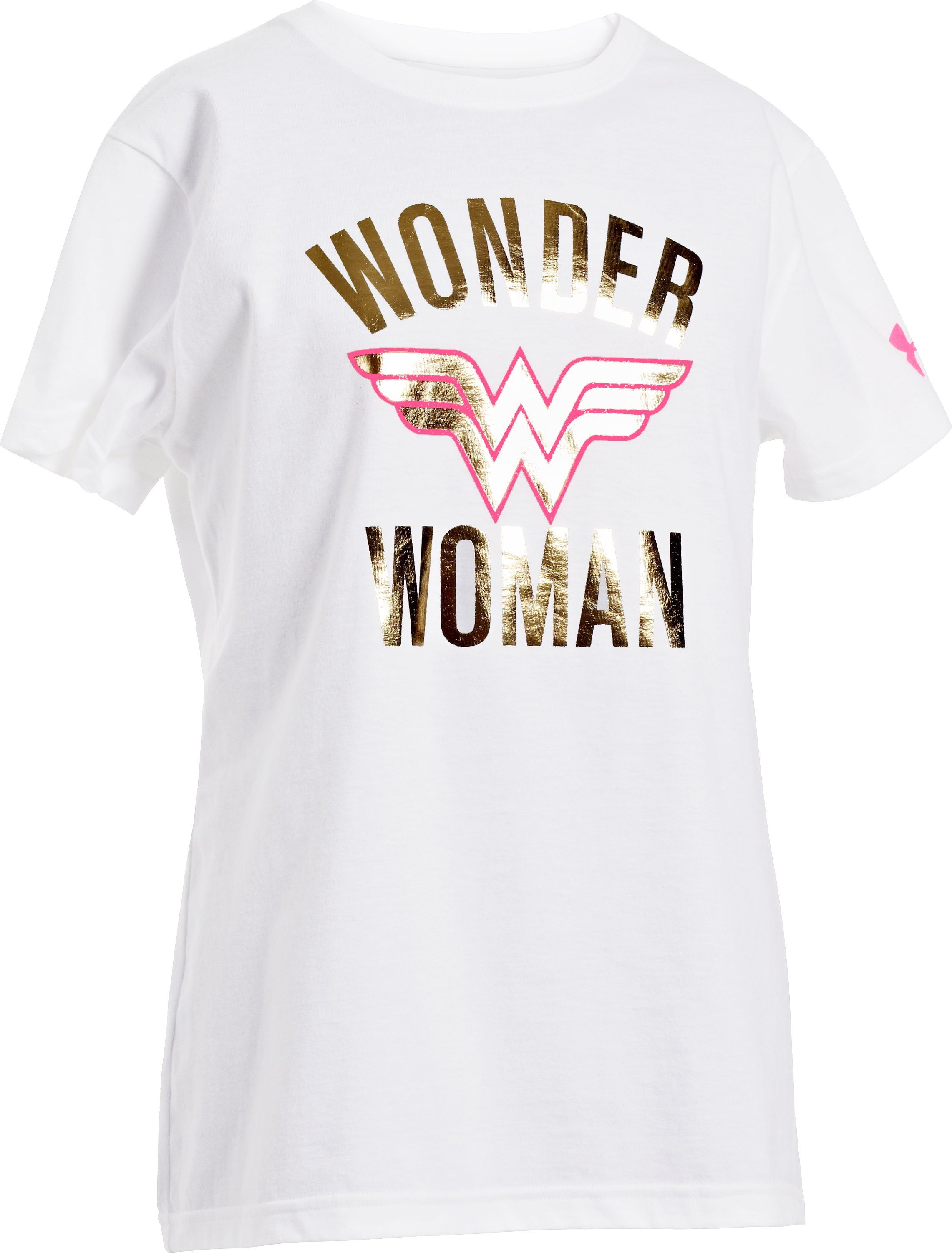 Girls' Under Armour® Alter Ego Wonder Woman Foil T-Shirt, White, zoomed image
