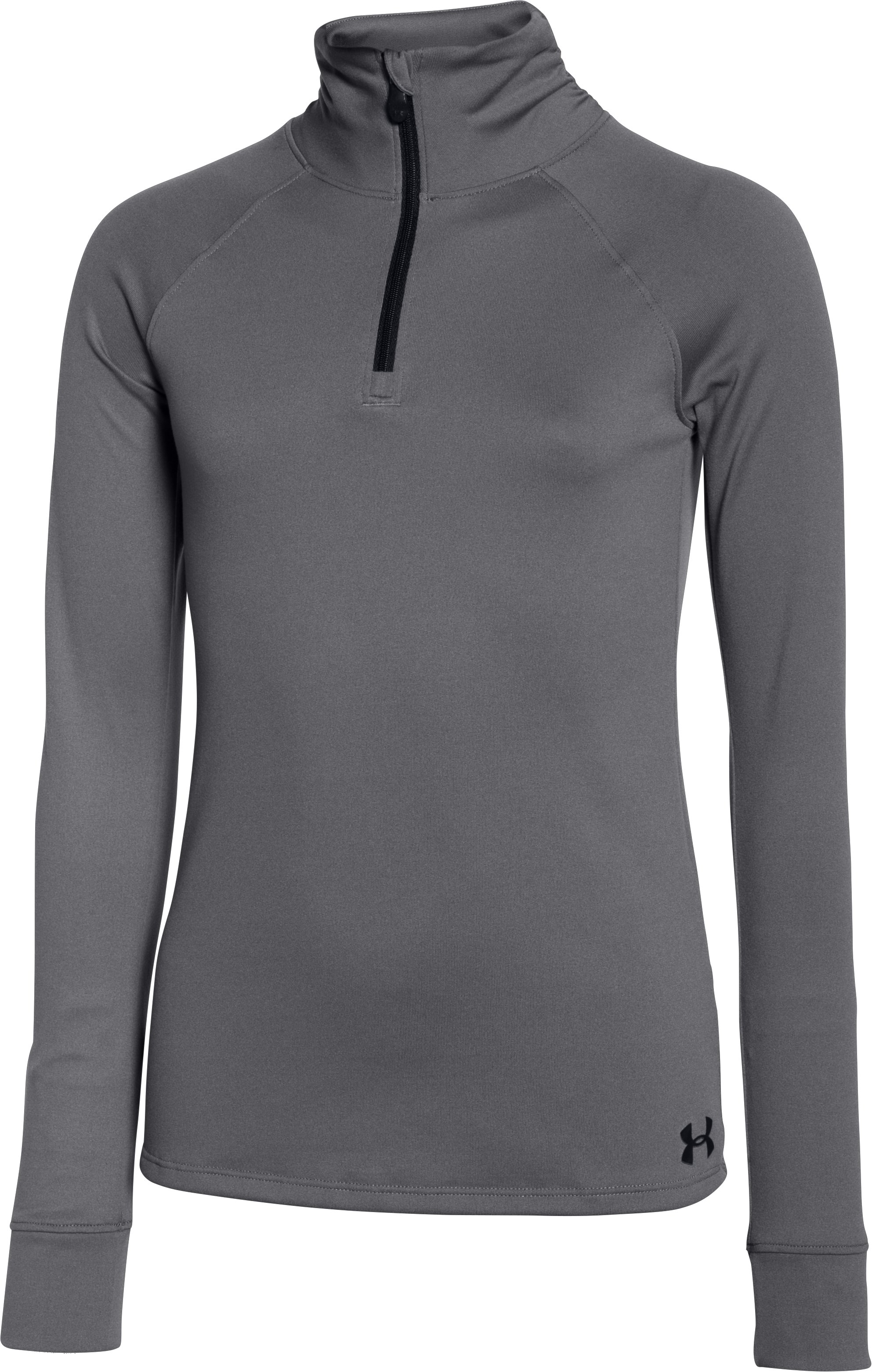 Girls' UA Tech™ 1/4 Zip, Graphite, zoomed image