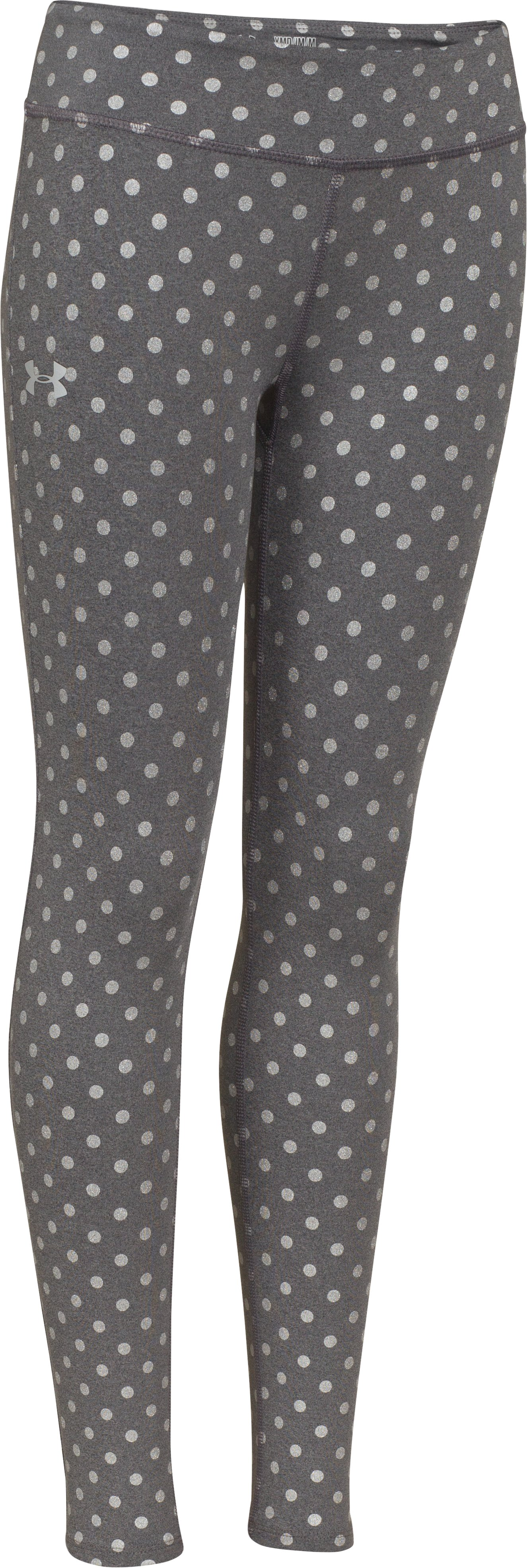Girls' HeatGear® Armour Printed Legging, Carbon Heather, zoomed image