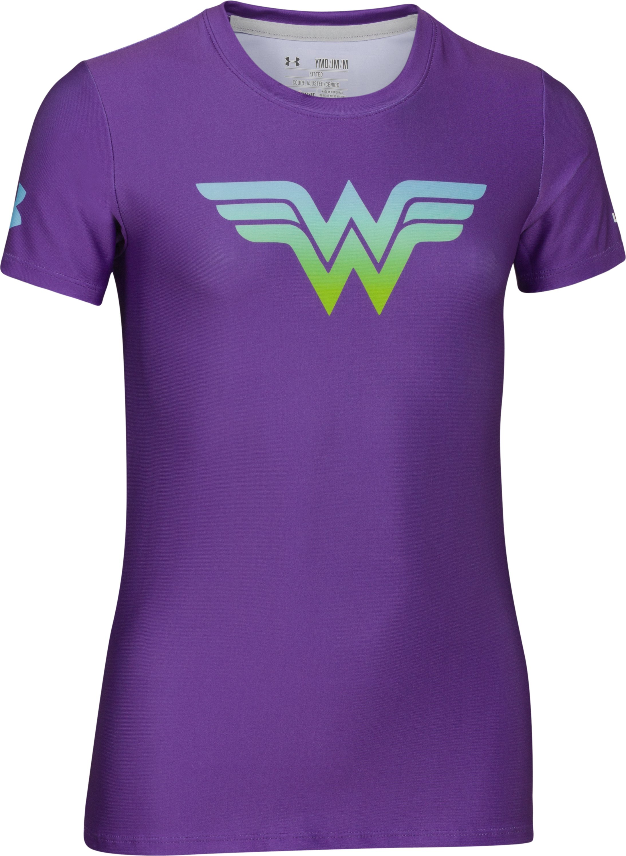 Girls' HeatGear® Sonic Wonder Woman Short Sleeve, PRIDE, zoomed image