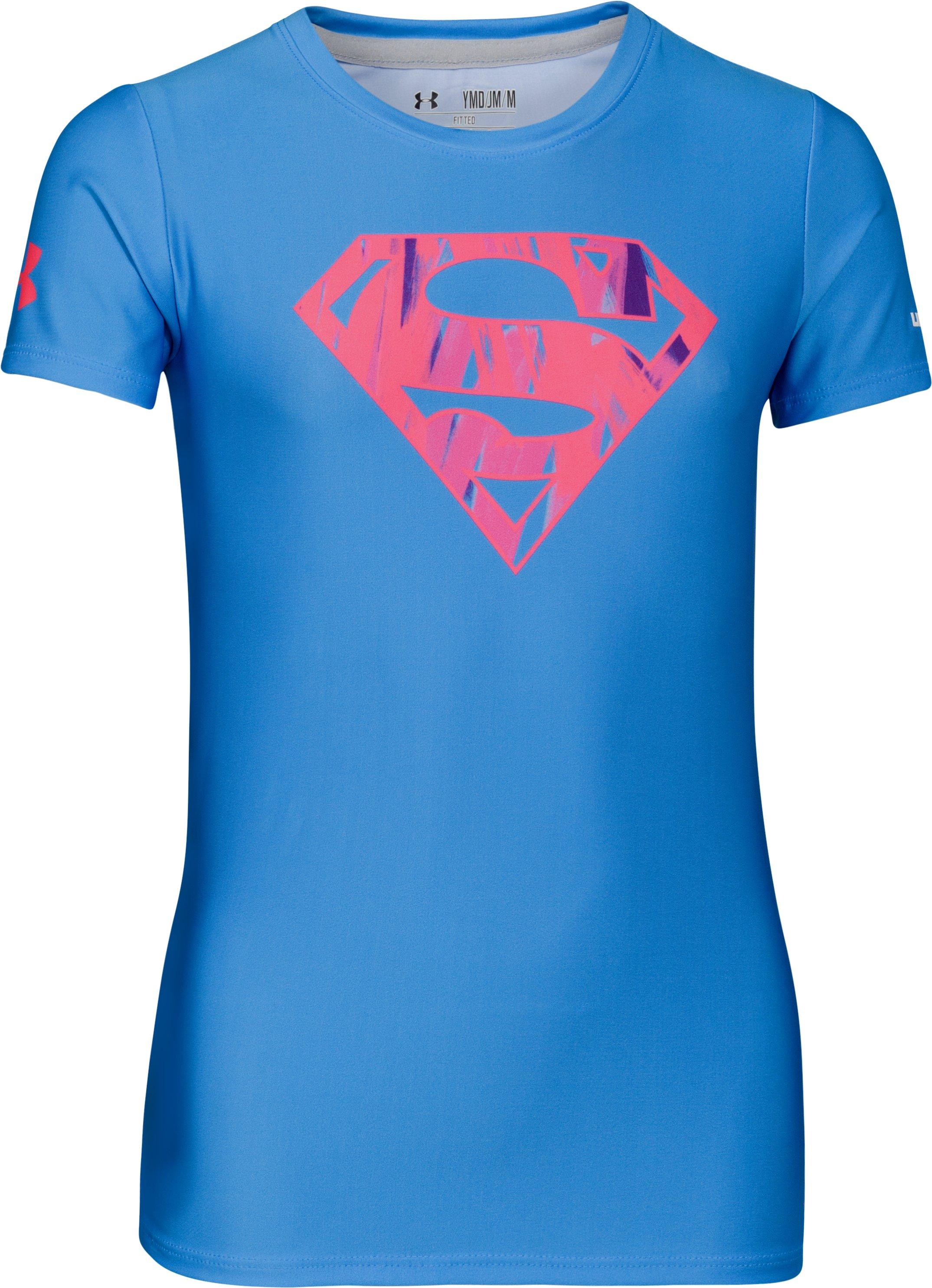 Girls' HeatGear® Sonic Supergirl Neon Short Sleeve, ELECTRIC BLUE, undefined