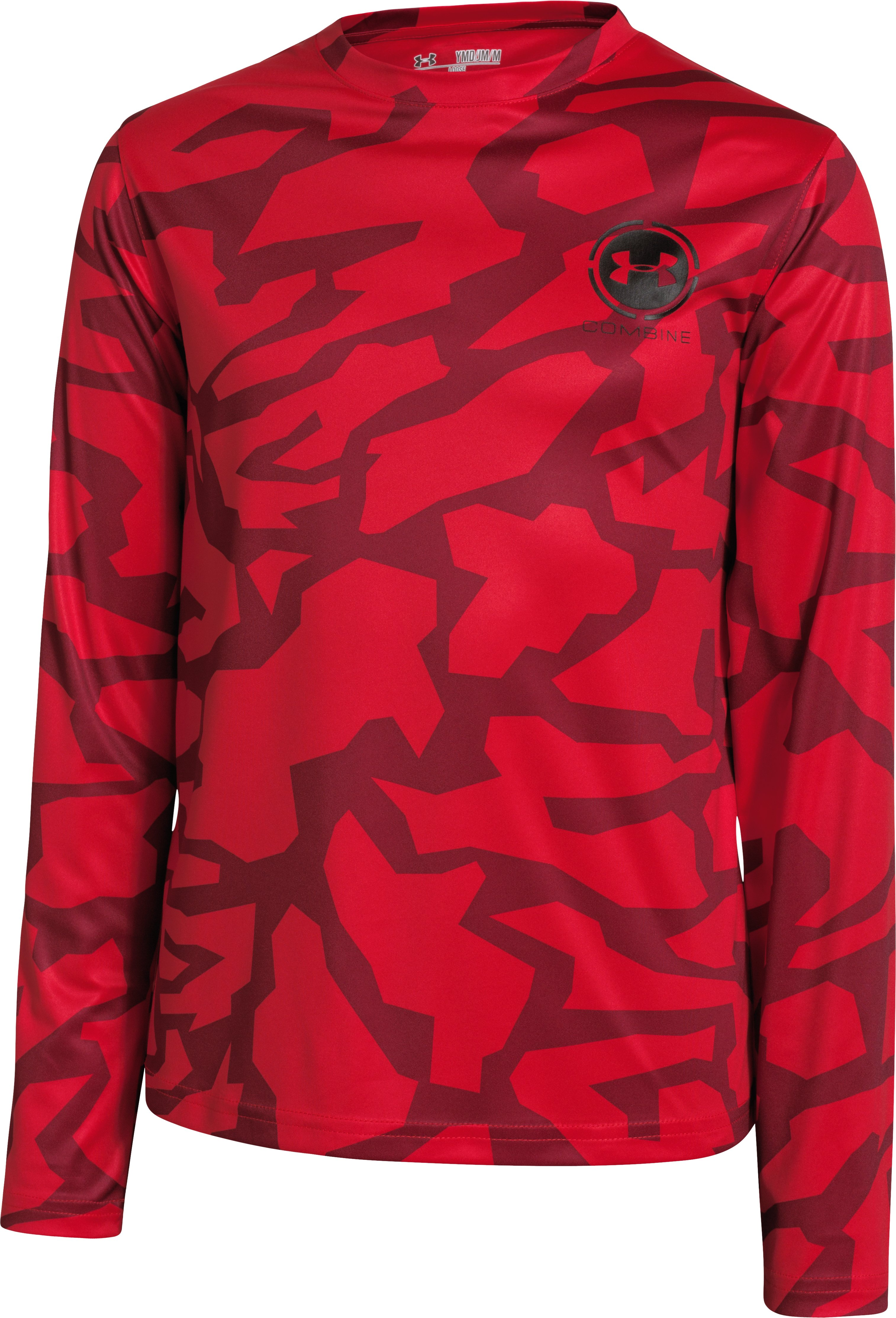 Boys' UA Combine® Training Long Sleeve T-Shirt, RISK RED
