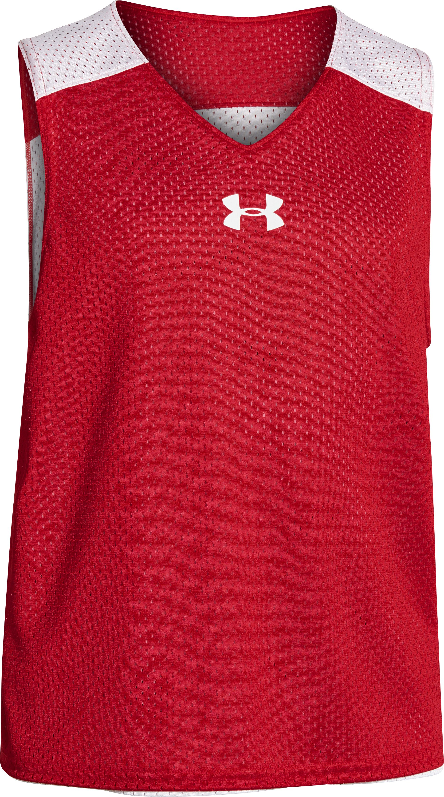 Boys' UA Lacrosse Reversible Pinny, Red, zoomed image
