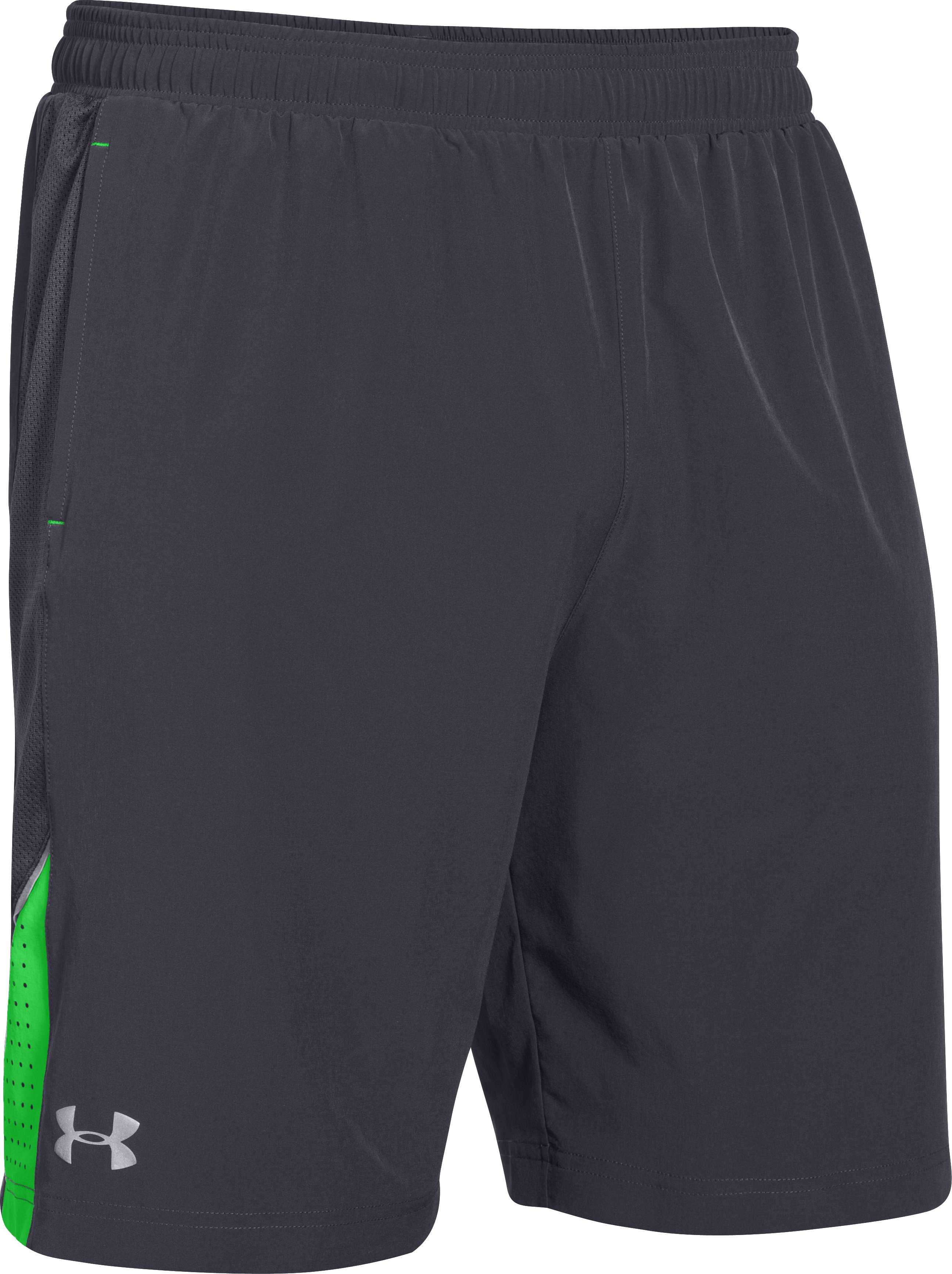 "Men's UA Launch Stretch Woven 9"" Run Shorts, STEALTH GRAY"