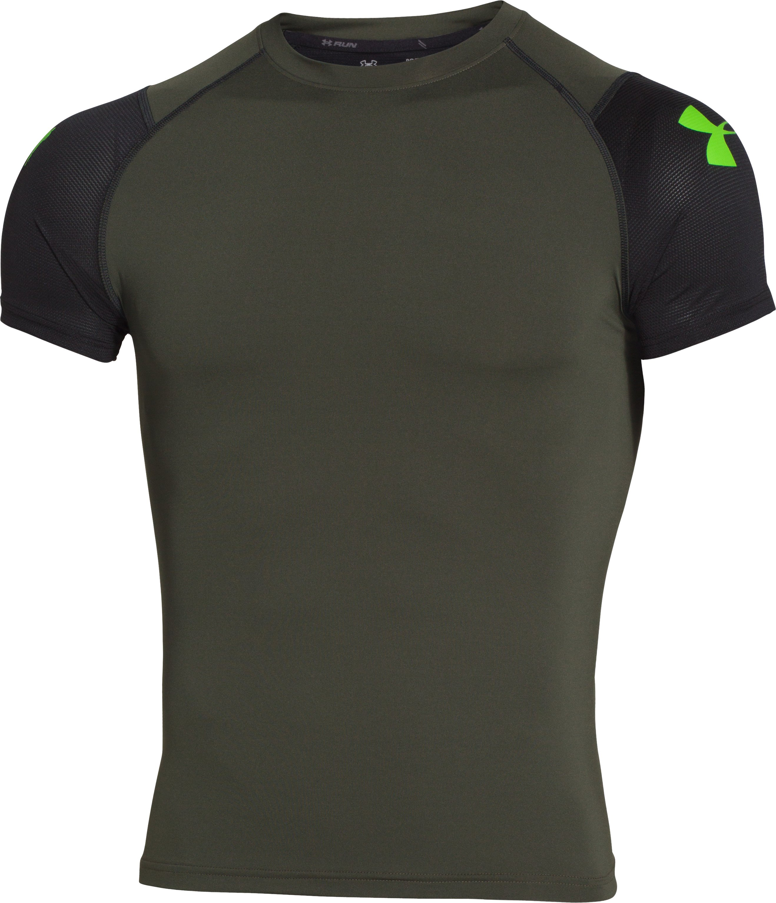 Men's UA Tough Mudder Obstacle Compression Short Sleeve, Rifle Green