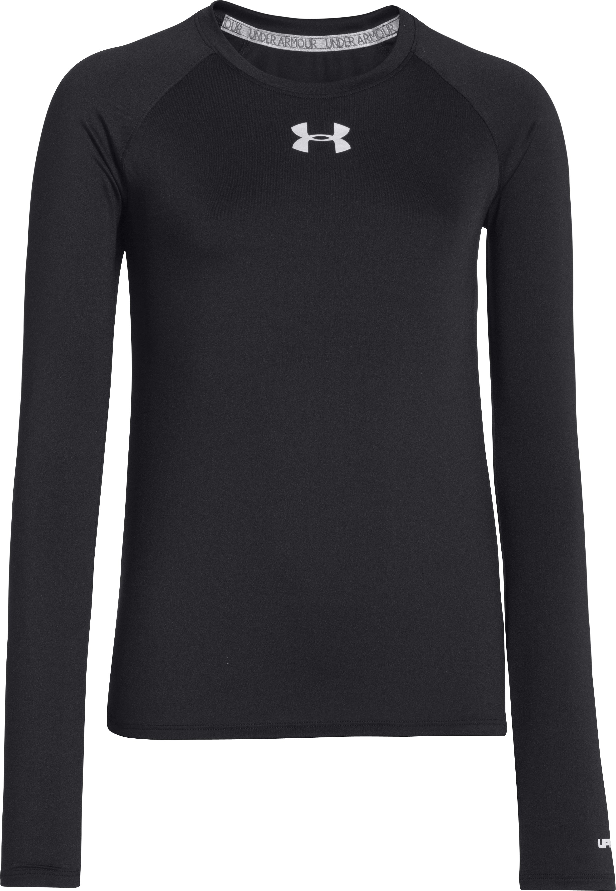 Girls' HeatGear® Armour Long Sleeve, Black , zoomed image