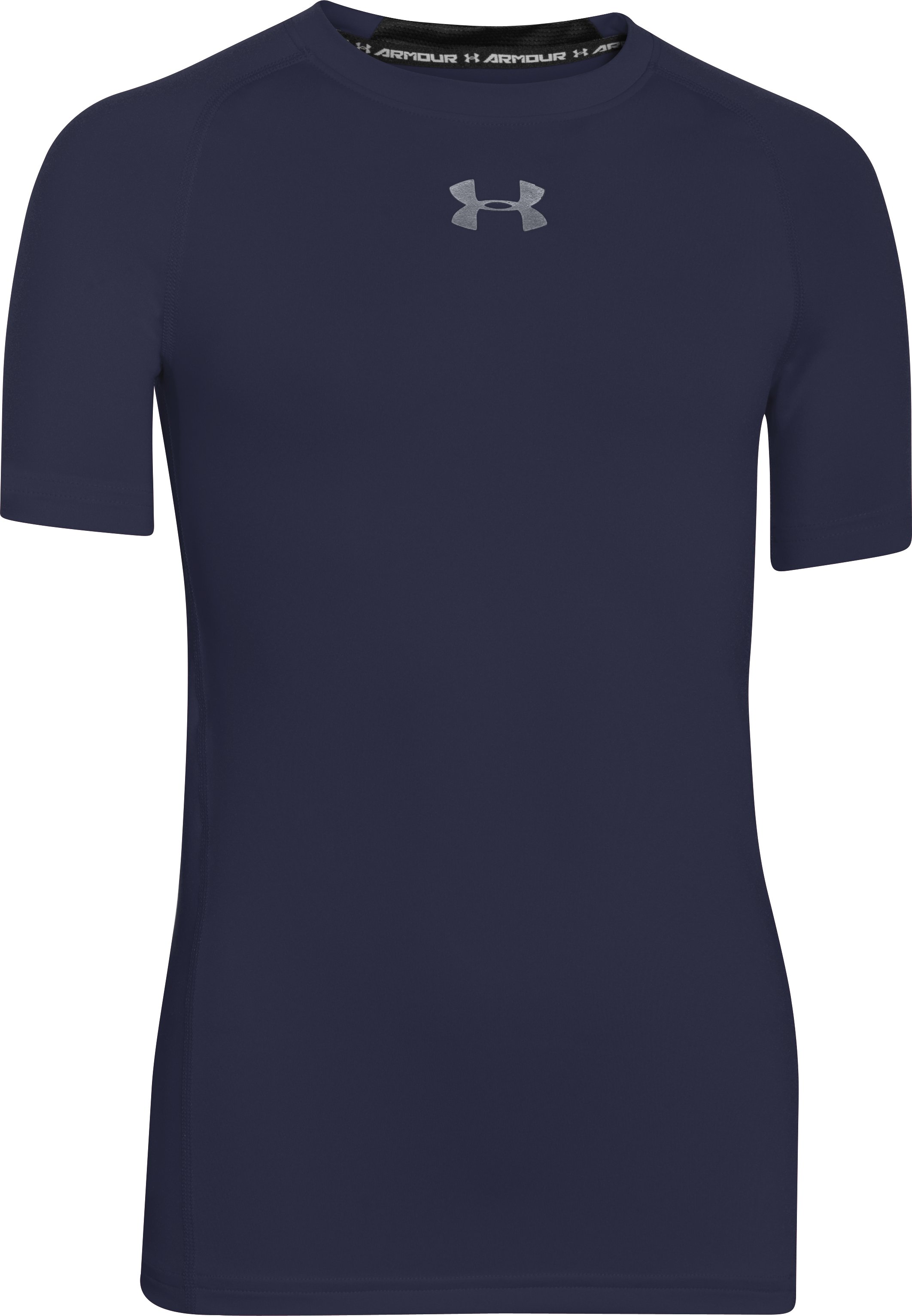Boys' UA HeatGear® Armour Short Sleeve Fitted Shirt, Midnight Navy, zoomed image
