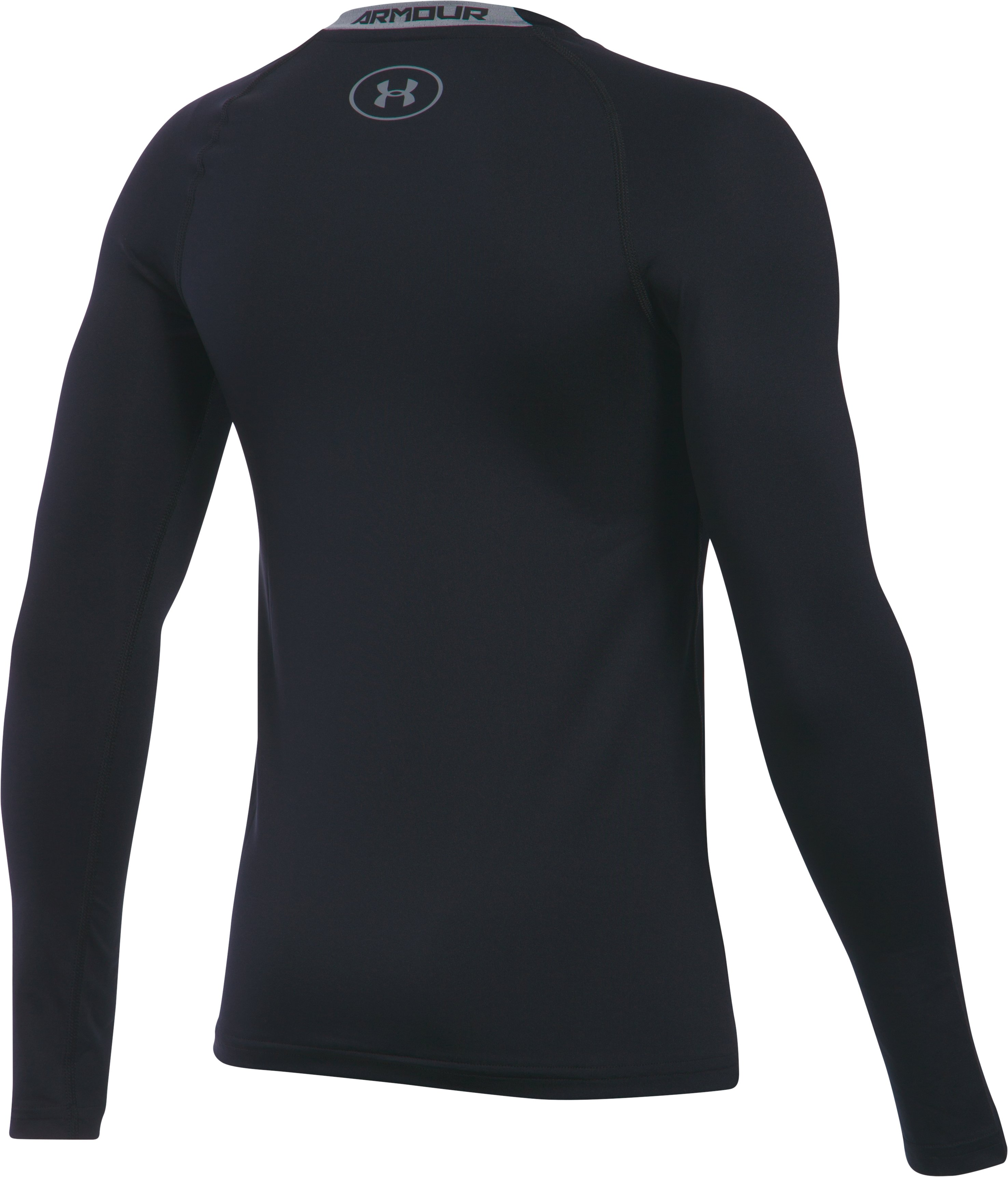 Boys' UA HeatGear® Armour Long Sleeve Fitted Shirt, Black ,