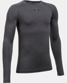 New Arrival  Boys' UA HeatGear® Armour Long Sleeve Fitted Shirt  2 Colors $26.99 to $34.99