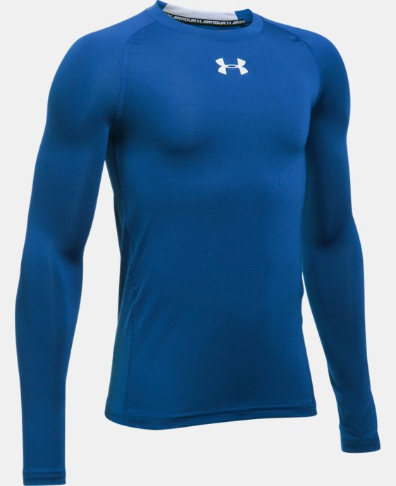 New Arrival  Boys' UA HeatGear® Armour Long Sleeve Fitted Shirt  6 Colors $26.99 to $34.99
