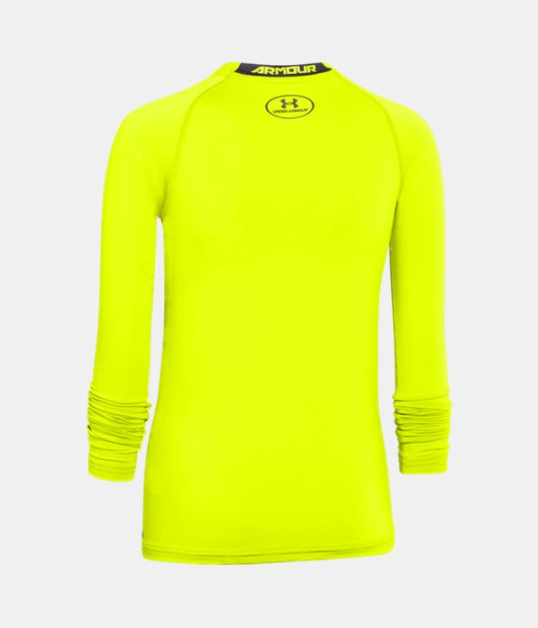 Boys 39 ua heatgear armour long sleeve fitted shirt under for Yellow under armour long sleeve shirt