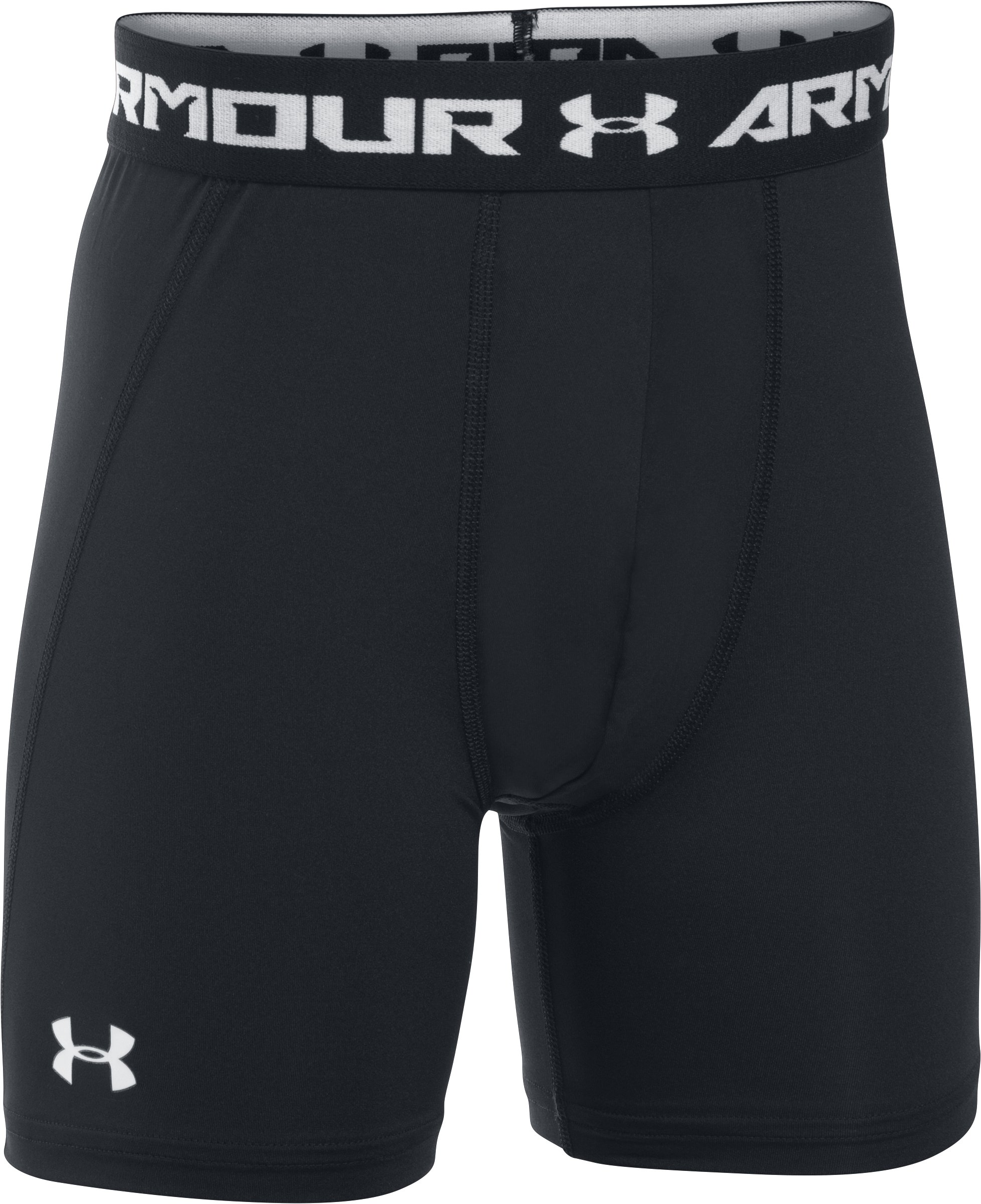 Boys' UA HeatGear® Armour Fitted Shorts — Mid, Black ,