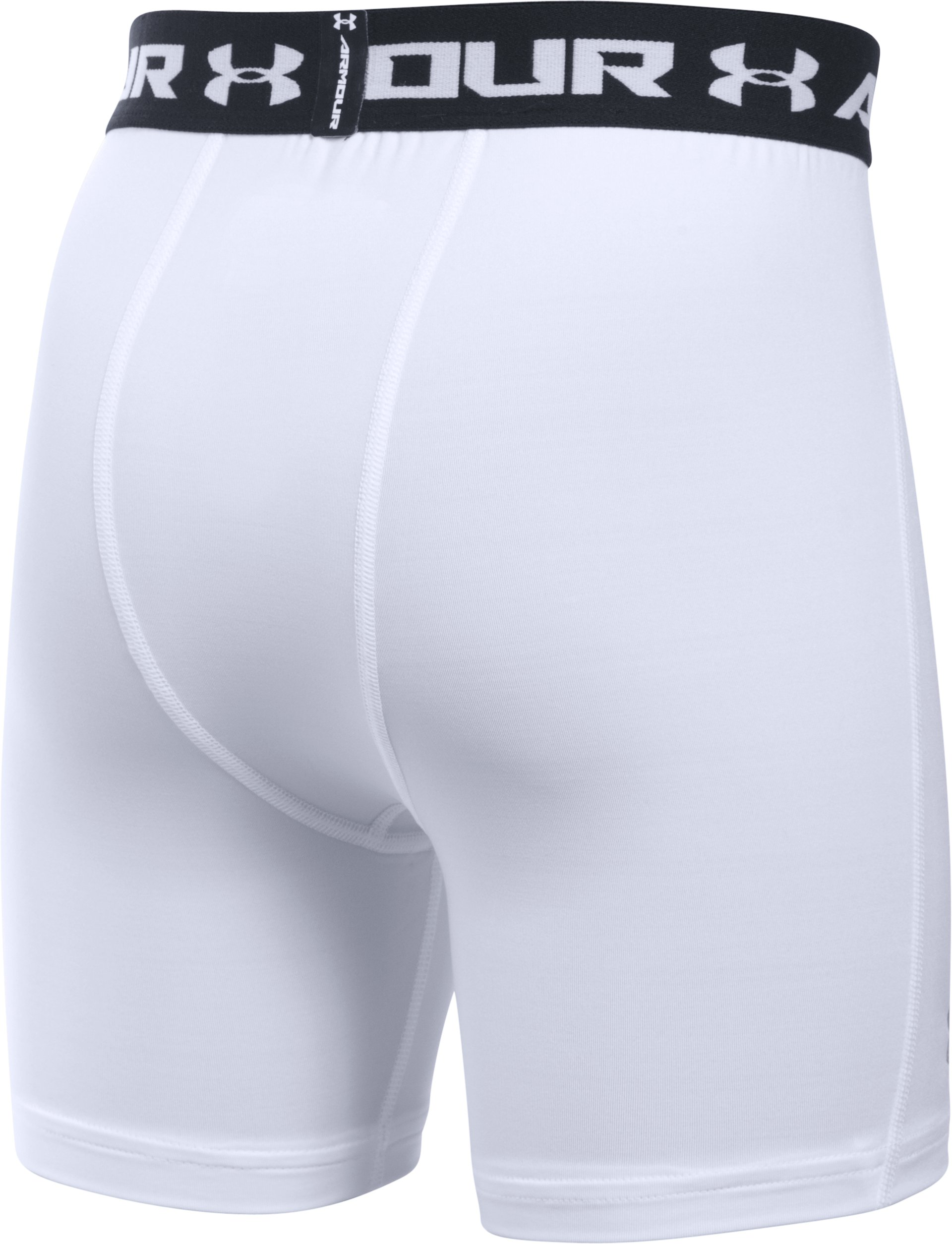 Boys' UA HeatGear® Armour Fitted Shorts — Mid, White,