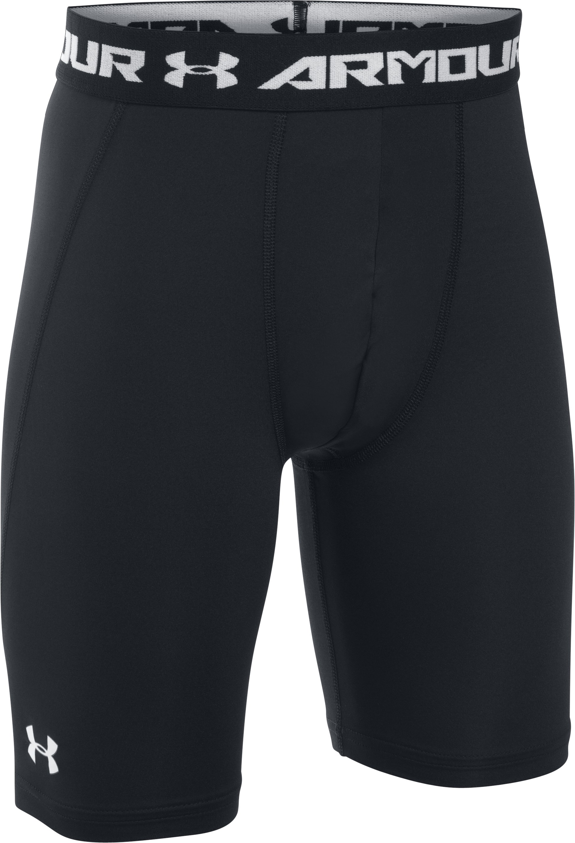 Boys' UA HeatGear® Armour Fitted Shorts – Long, Black , zoomed image