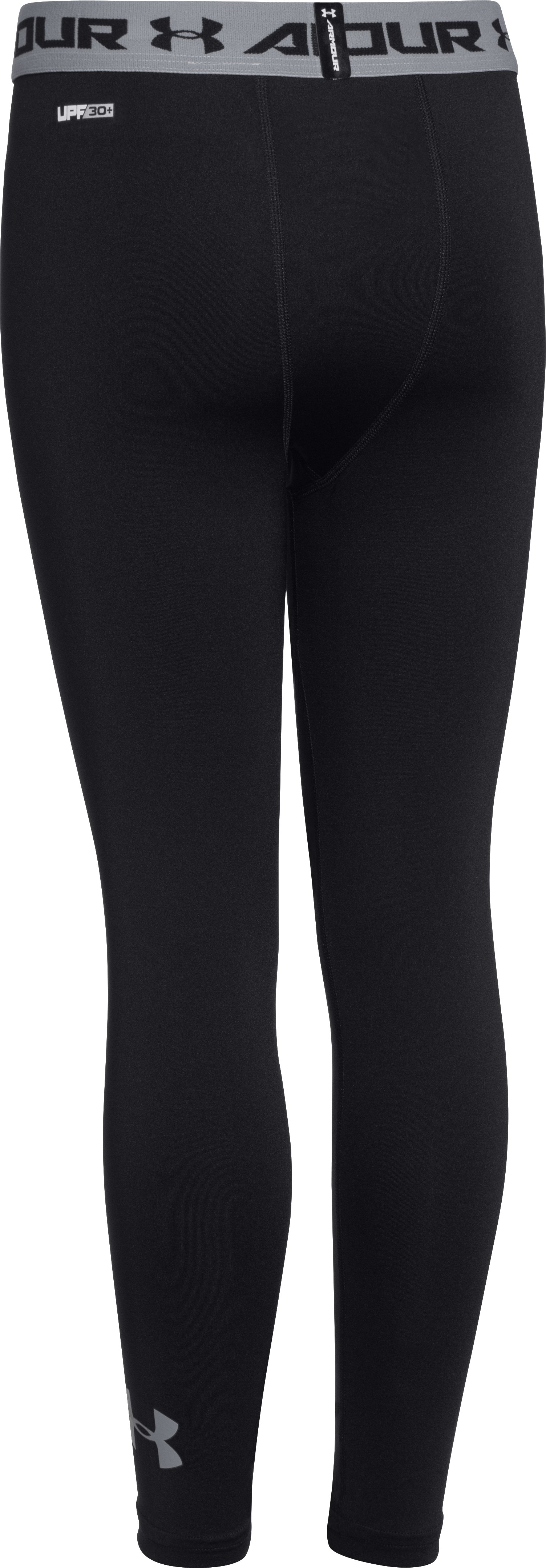 Boys' UA HeatGear® Armour Fitted Leggings, Black , zoomed image