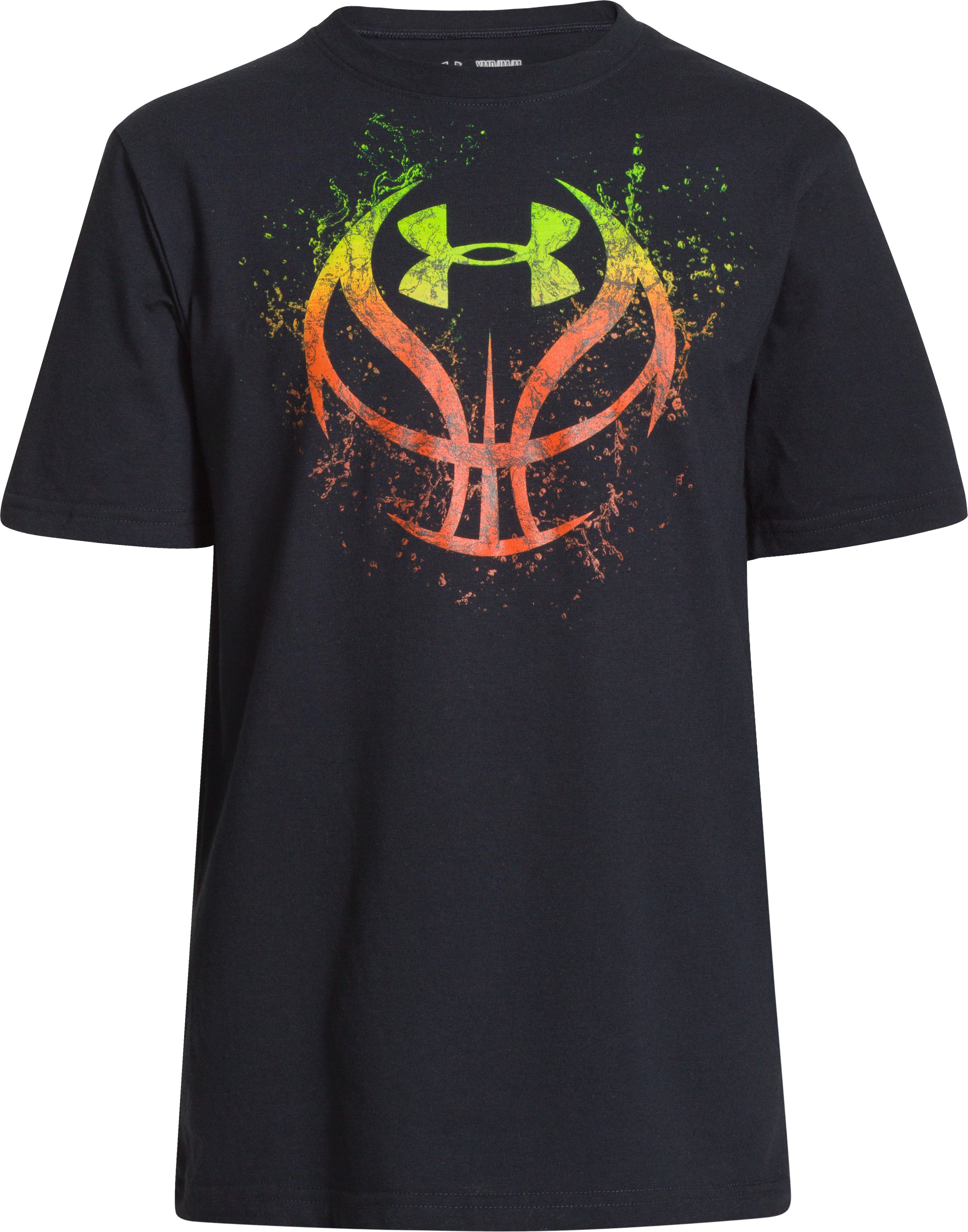 Boys' UA Basketball Splash T-Shirt, Black , zoomed image