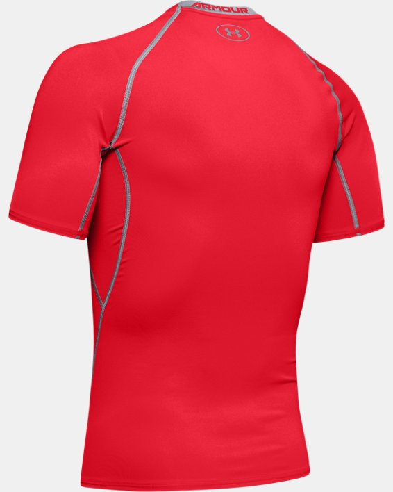 Men's UA HeatGear® Armour Short Sleeve Compression Shirt, Red, pdpMainDesktop image number 9