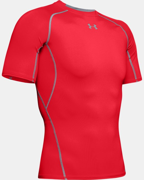 Men's UA HeatGear® Armour Short Sleeve Compression Shirt, Red, pdpMainDesktop image number 8