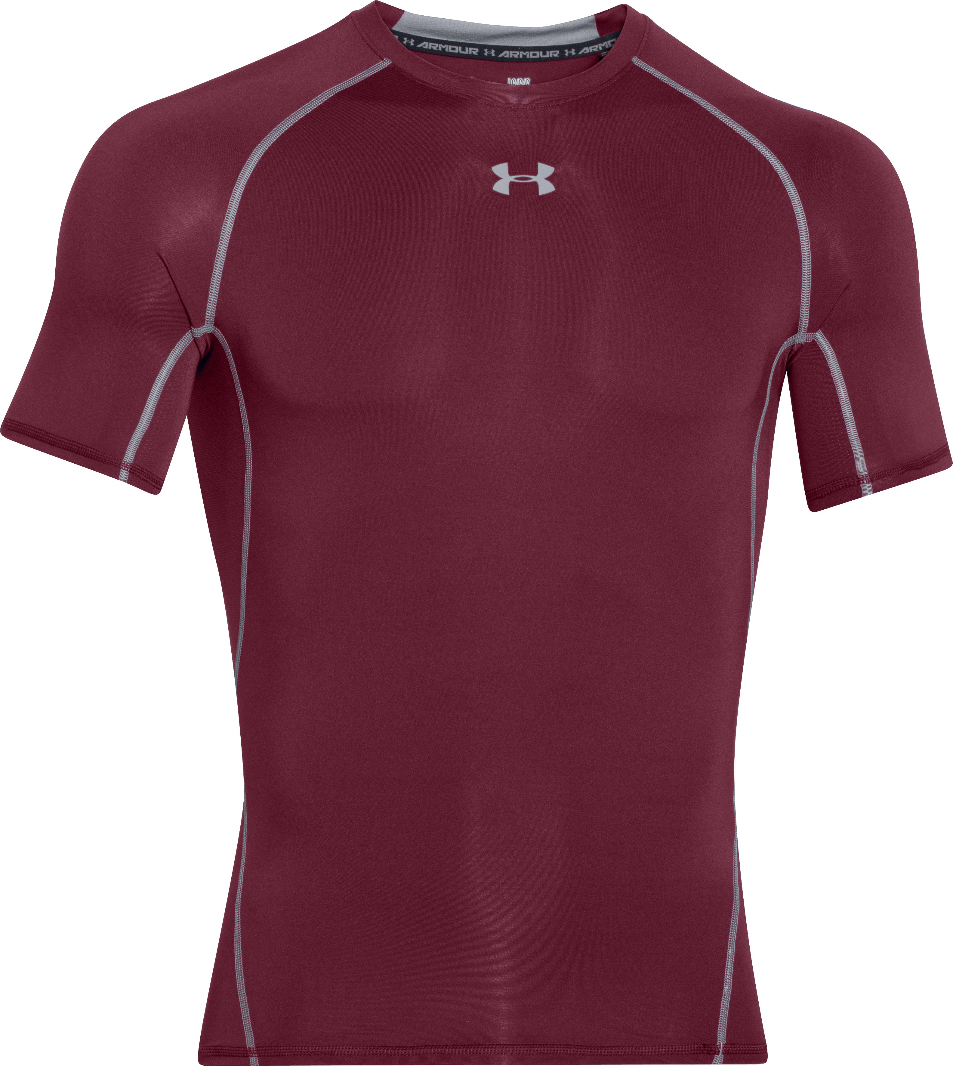 Men's UA HeatGear® Armour Short Sleeve Compression Shirt, Maroon, undefined