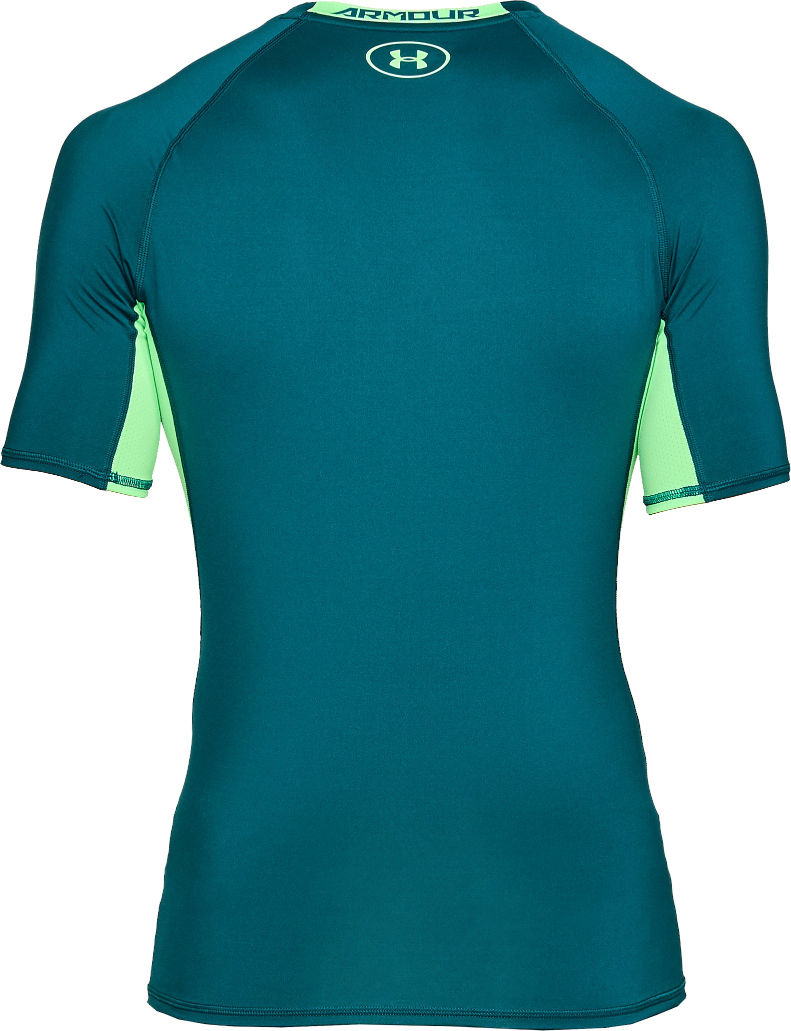 Men's UA HeatGear® Armour Short Sleeve Compression Shirt, TOURMALINE TEAL, undefined