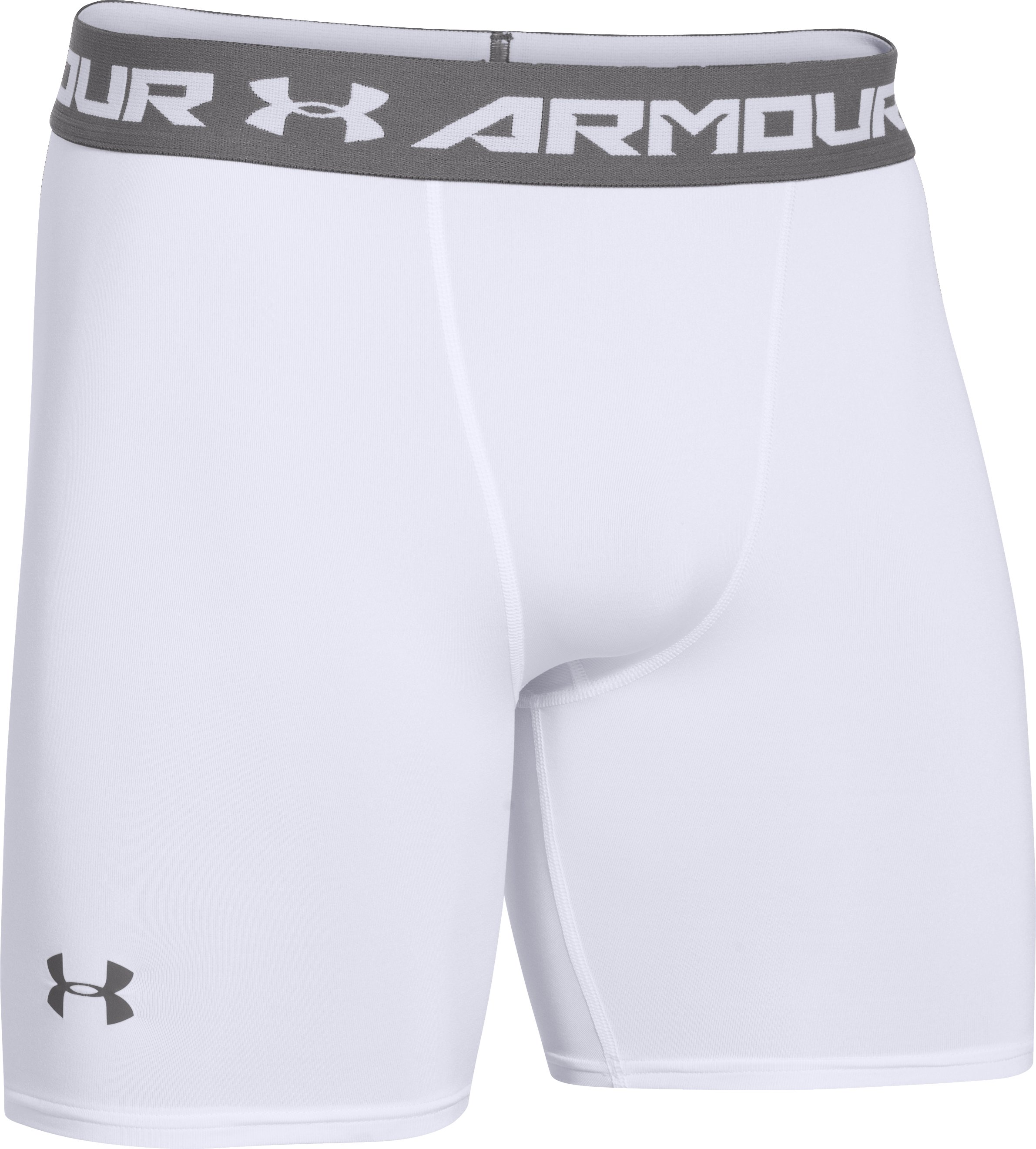 Men's UA HeatGear® Armour Compression Shorts — Mid, White, undefined
