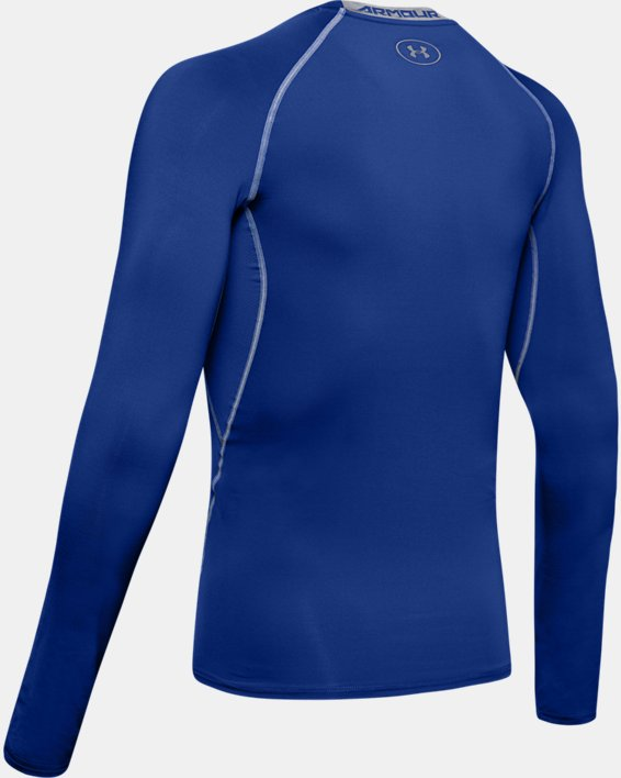 Men's UA HeatGear® Armour Long Sleeve Compression Shirt, Blue, pdpMainDesktop image number 9