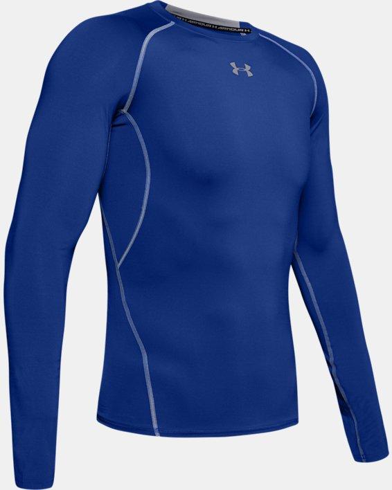 Men's UA HeatGear® Armour Long Sleeve Compression Shirt, Blue, pdpMainDesktop image number 8