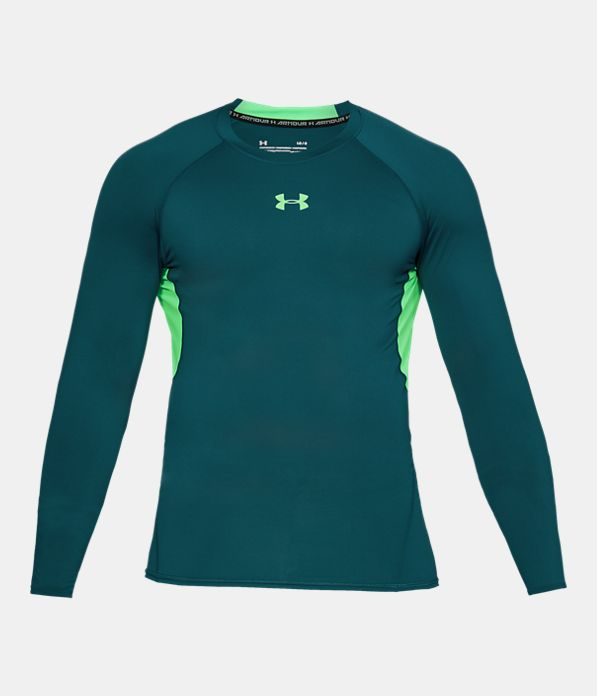Men 39 s ua heatgear armour long sleeve compression shirt for Teal under armour shirt