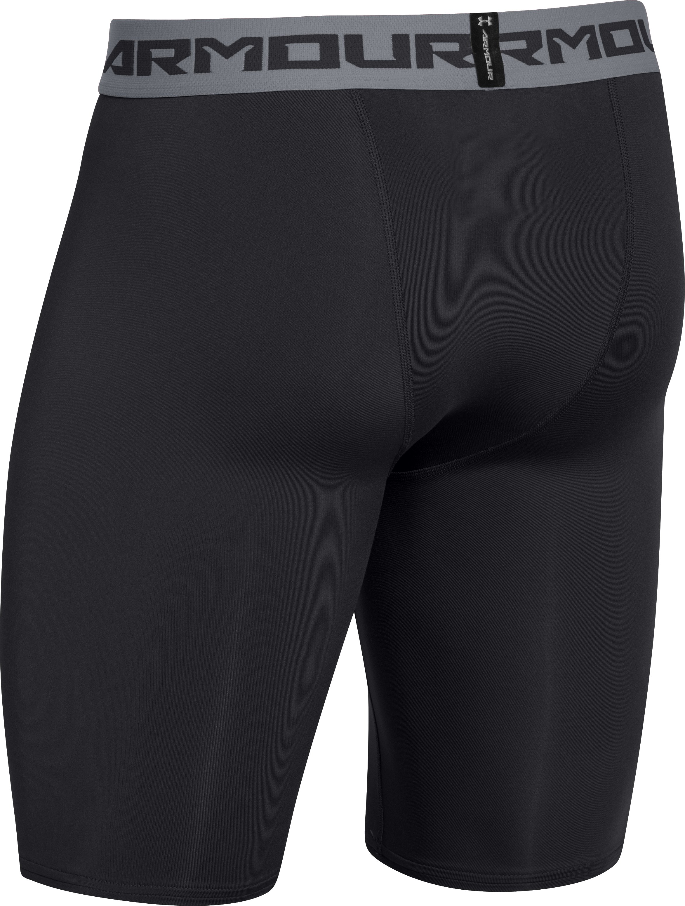 Men's UA HeatGear® Armour Compression Shorts — Long, Black , undefined