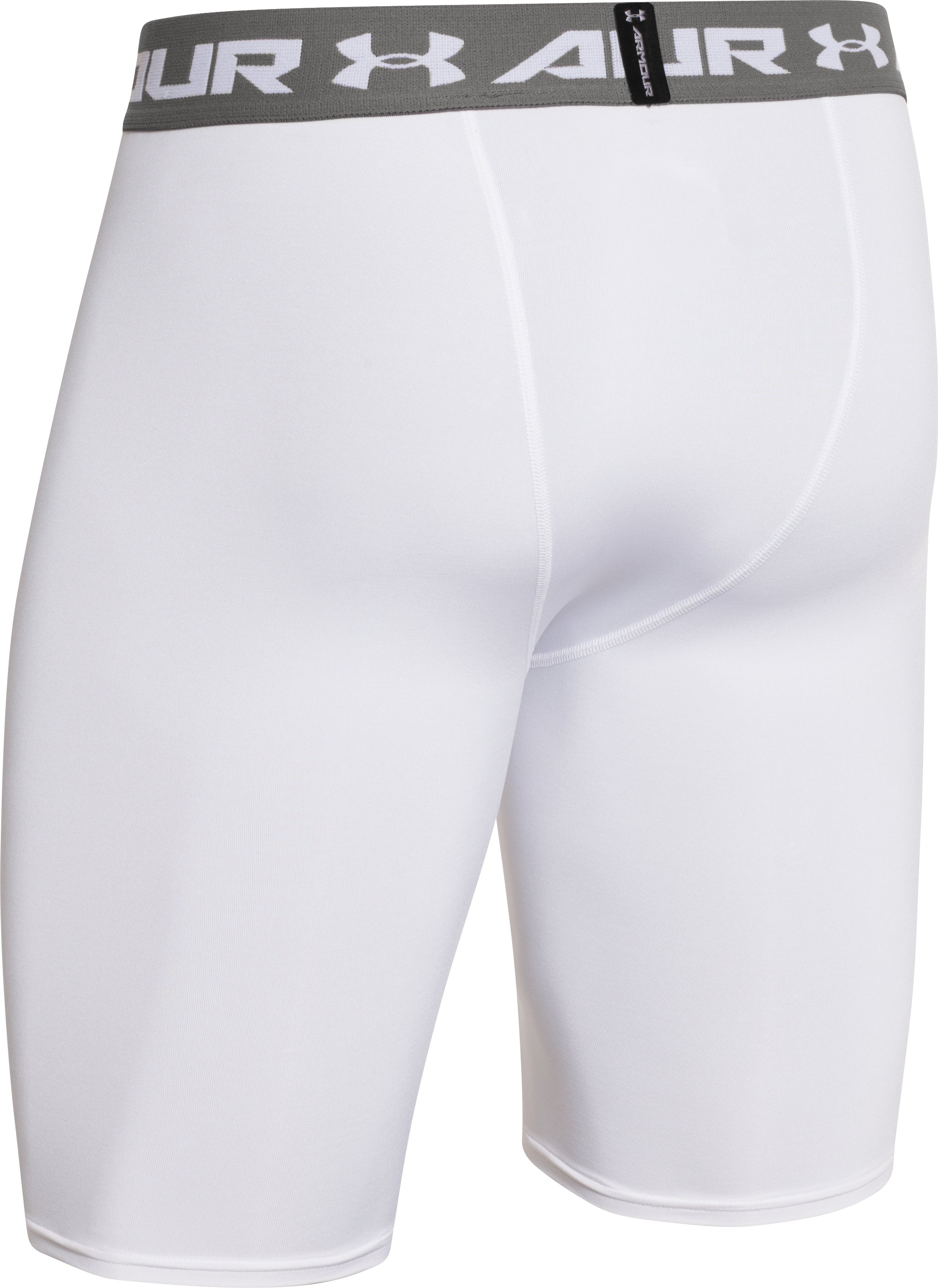 Men's UA HeatGear® Armour Compression Shorts — Long, White, undefined