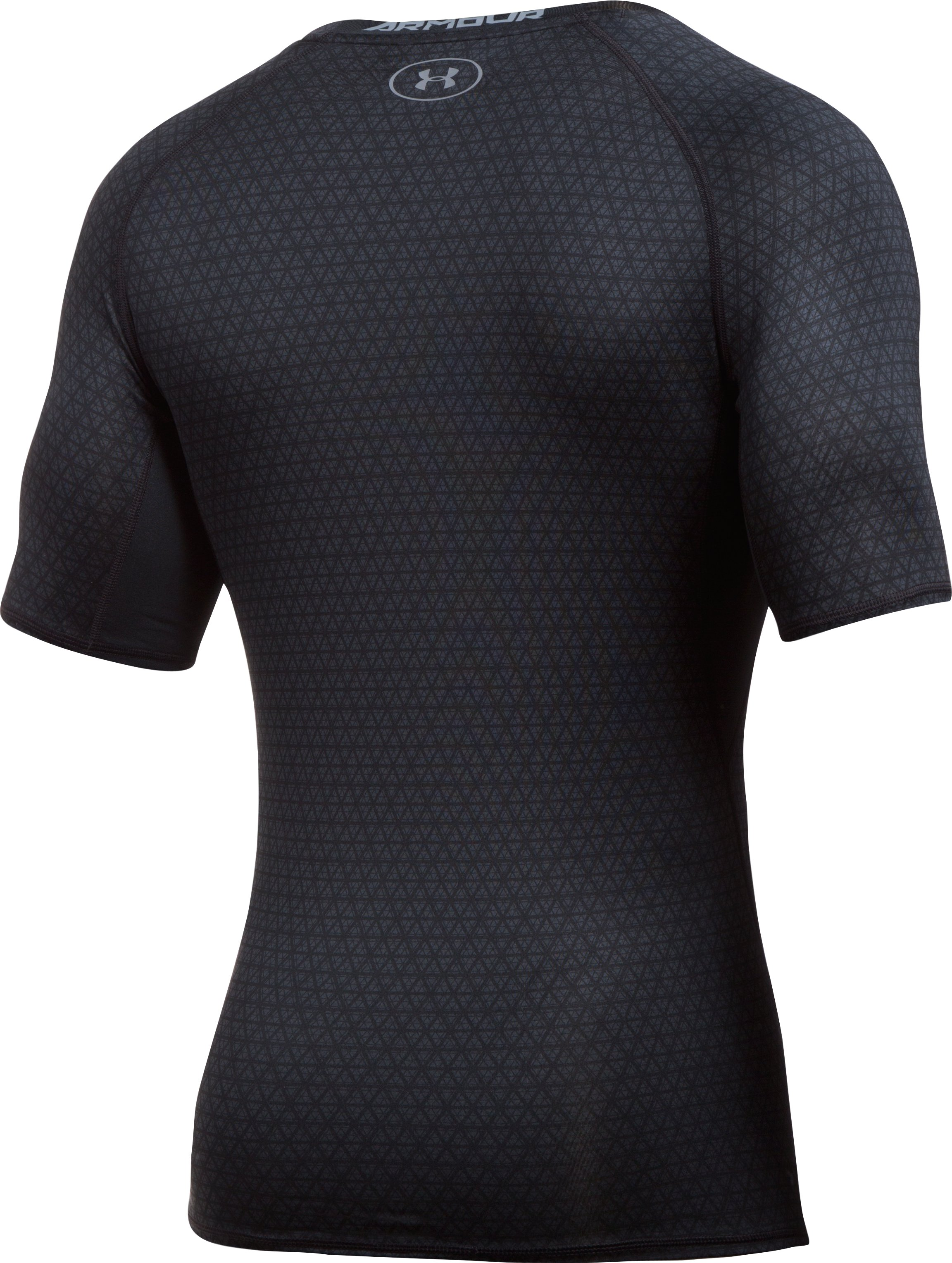 Men's UA HeatGear® Armour Printed Short Sleeve Compression Shirt, Black , undefined