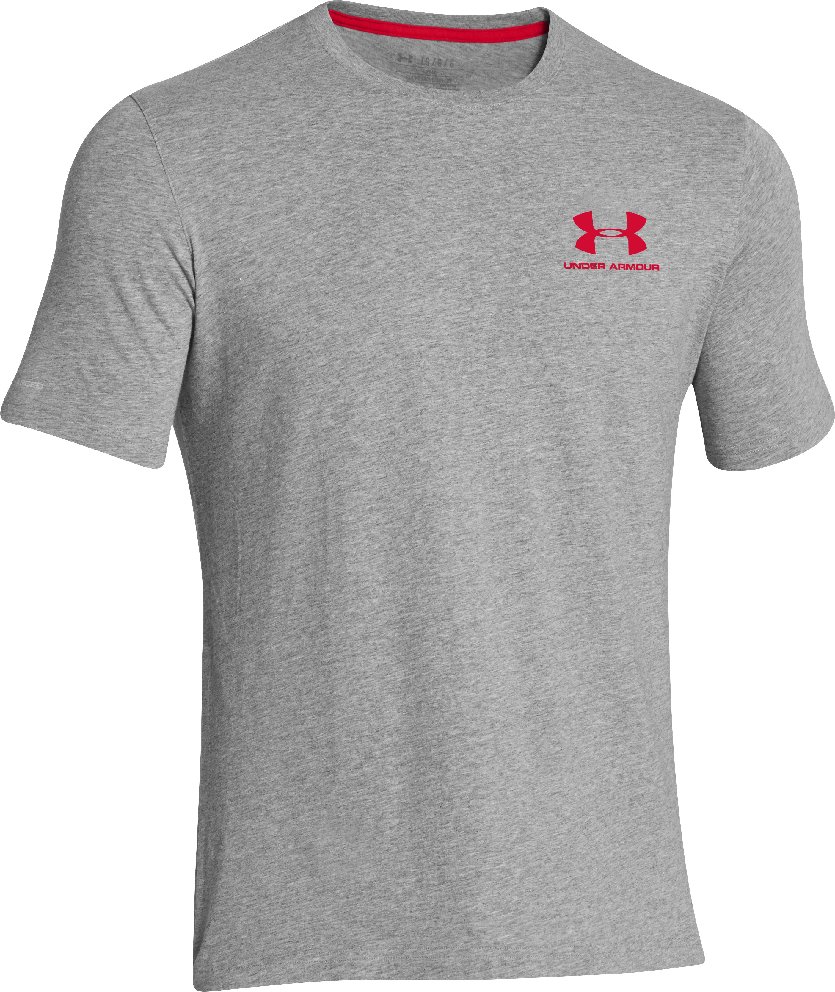 Men's UA Charged Cotton® Left Chest Lockup T-Shirt, True Gray Heather,