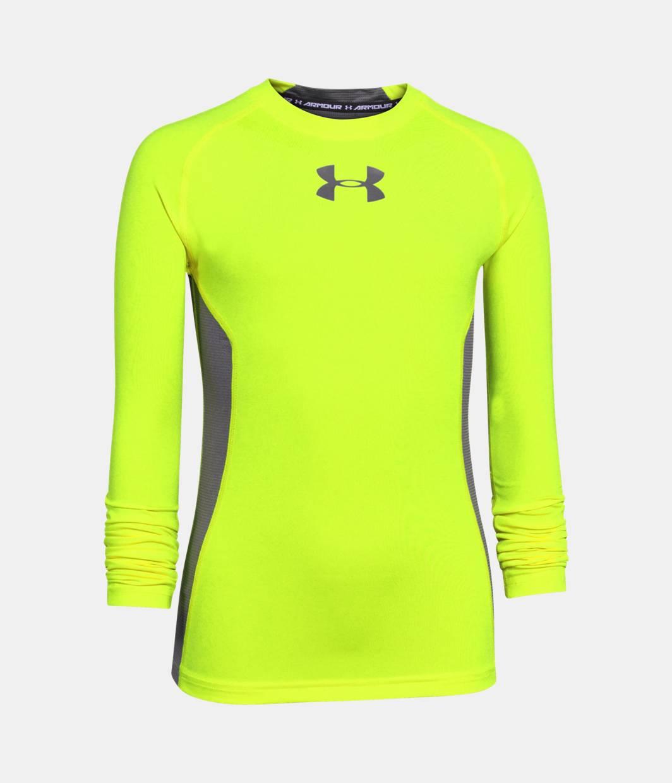 Boys ua heatgear armour up long sleeve fitted shirt for Yellow under armour long sleeve shirt