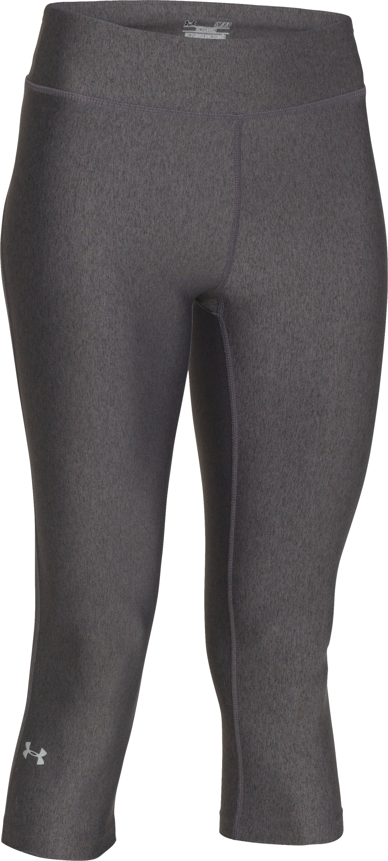 Women's UA HeatGear® Armour Capri, Carbon Heather,