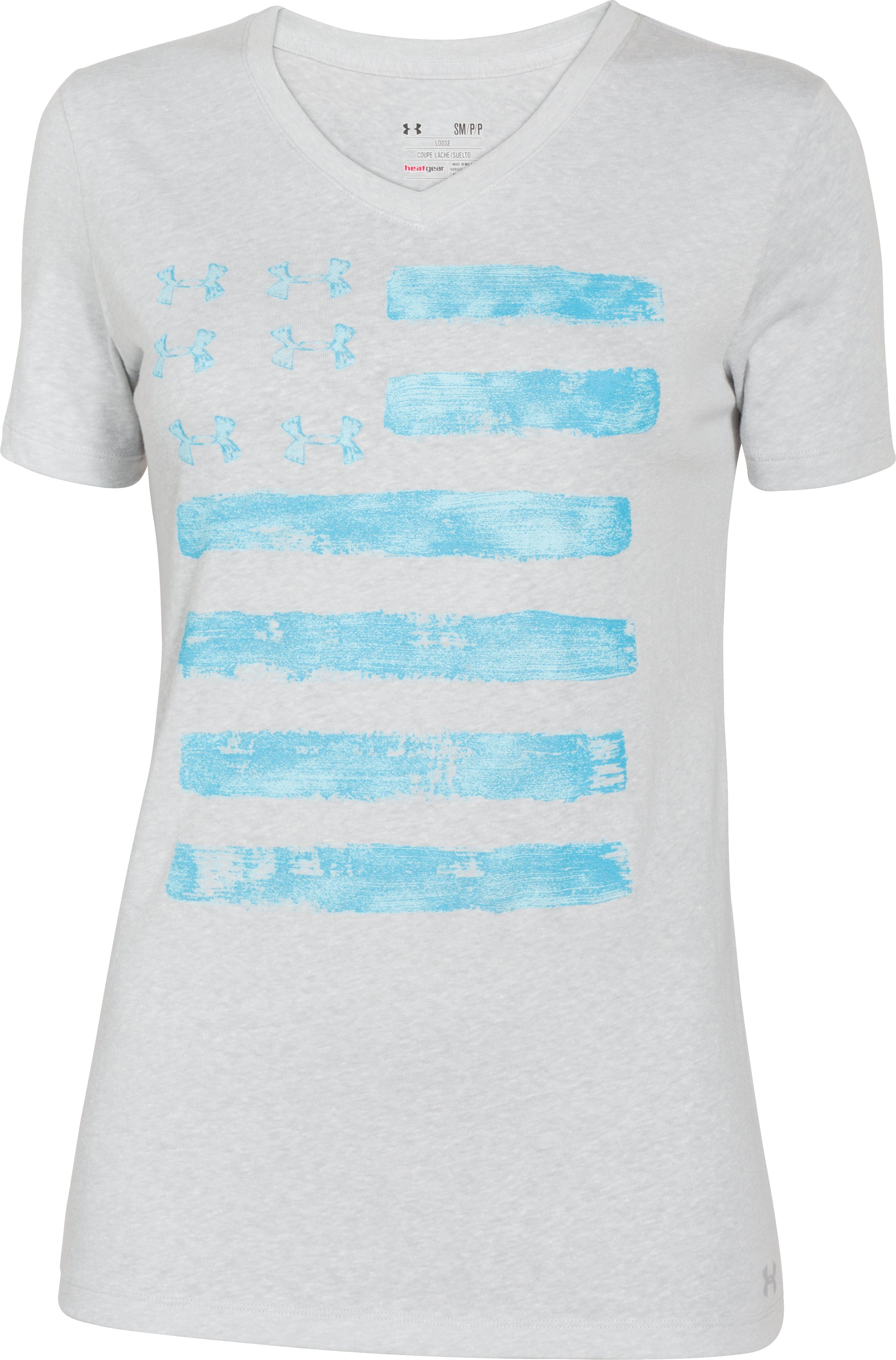Women's UA Charged Cotton® Tri-Blend Patriotic V-Neck, Silver Heather,