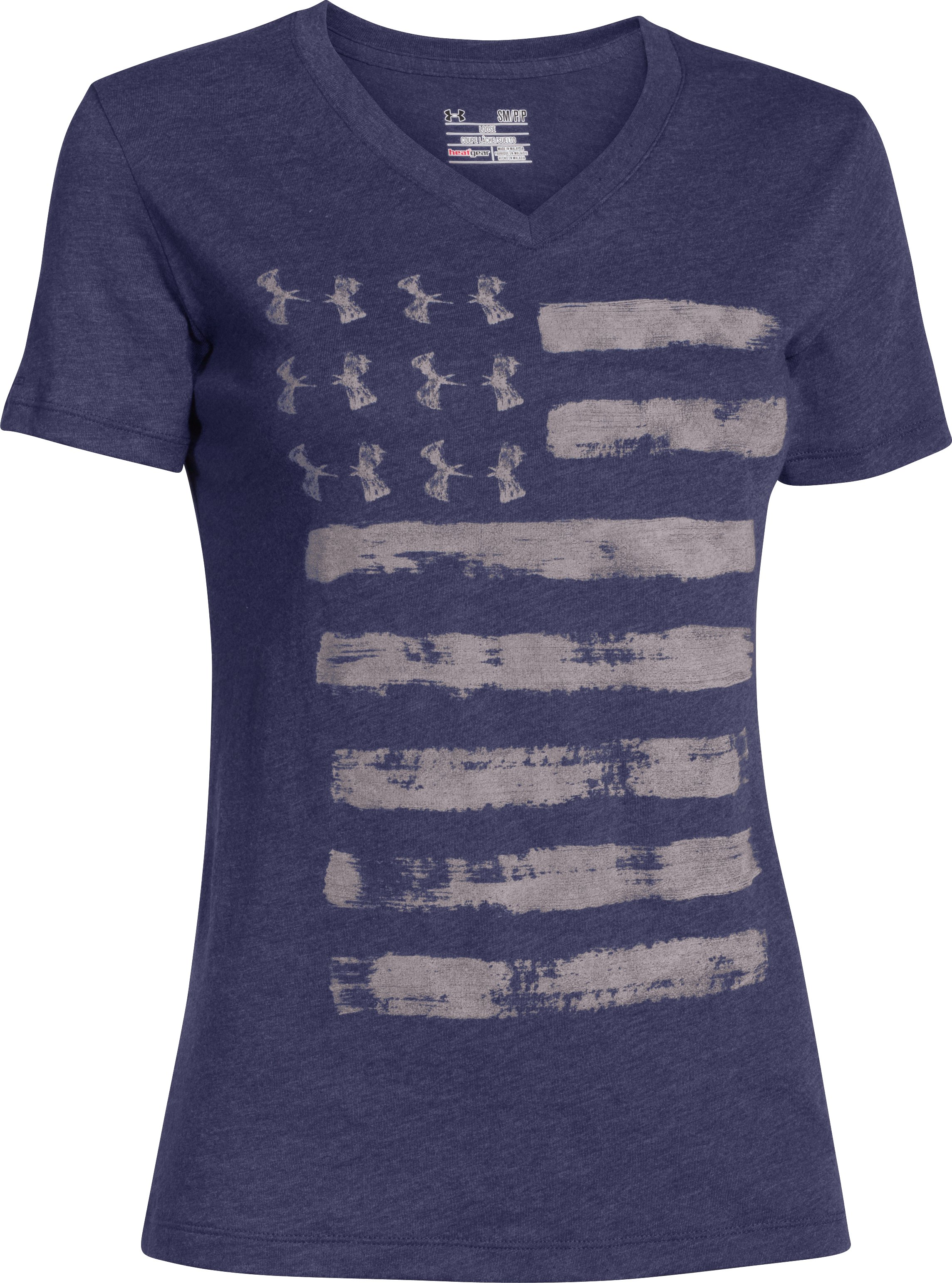 Women's UA Charged Cotton® Tri-Blend Patriotic V-Neck, FADED INK