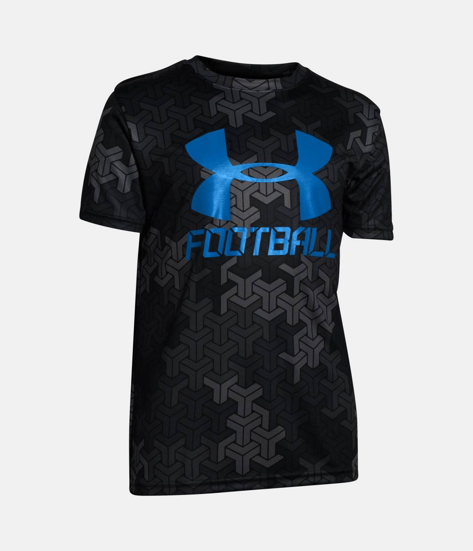 Boys ua big logo football t shirt under armour us for Under armor football shirts