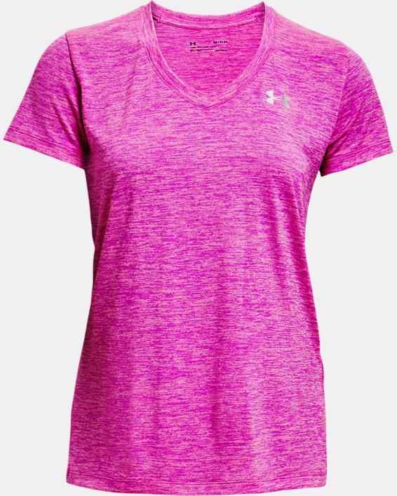 Women's UA Tech™ Twist V-Neck, Pink, pdpMainDesktop image number 4