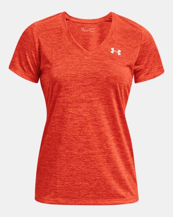 Damen UA Tech™ Oberteil mit Twist-Effekt und V-Ausschnitt, Orange, pdpMainDesktop image number 4
