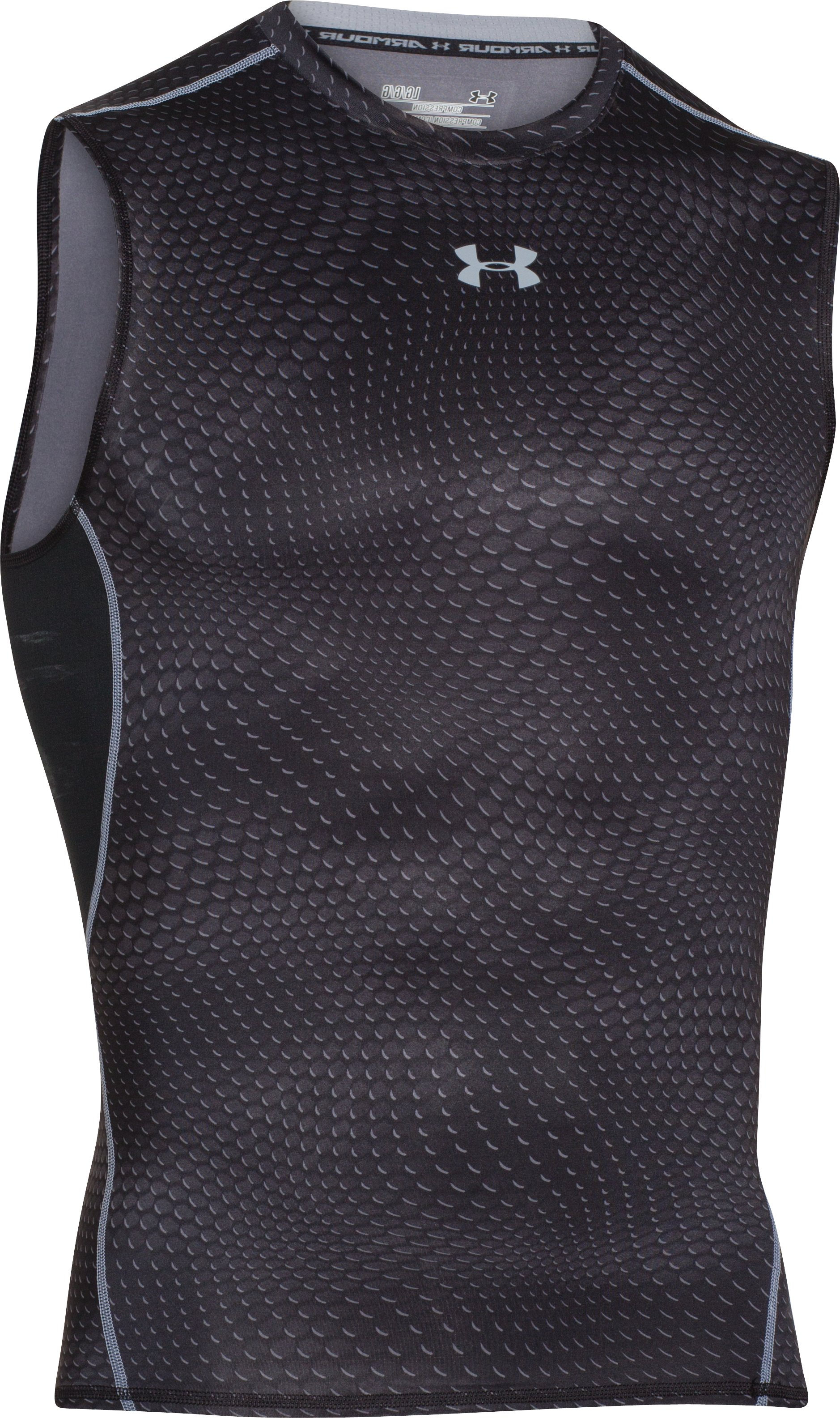 Men's UA HeatGear® Armour Printed Sleeveless Compression Shirt, Black , undefined