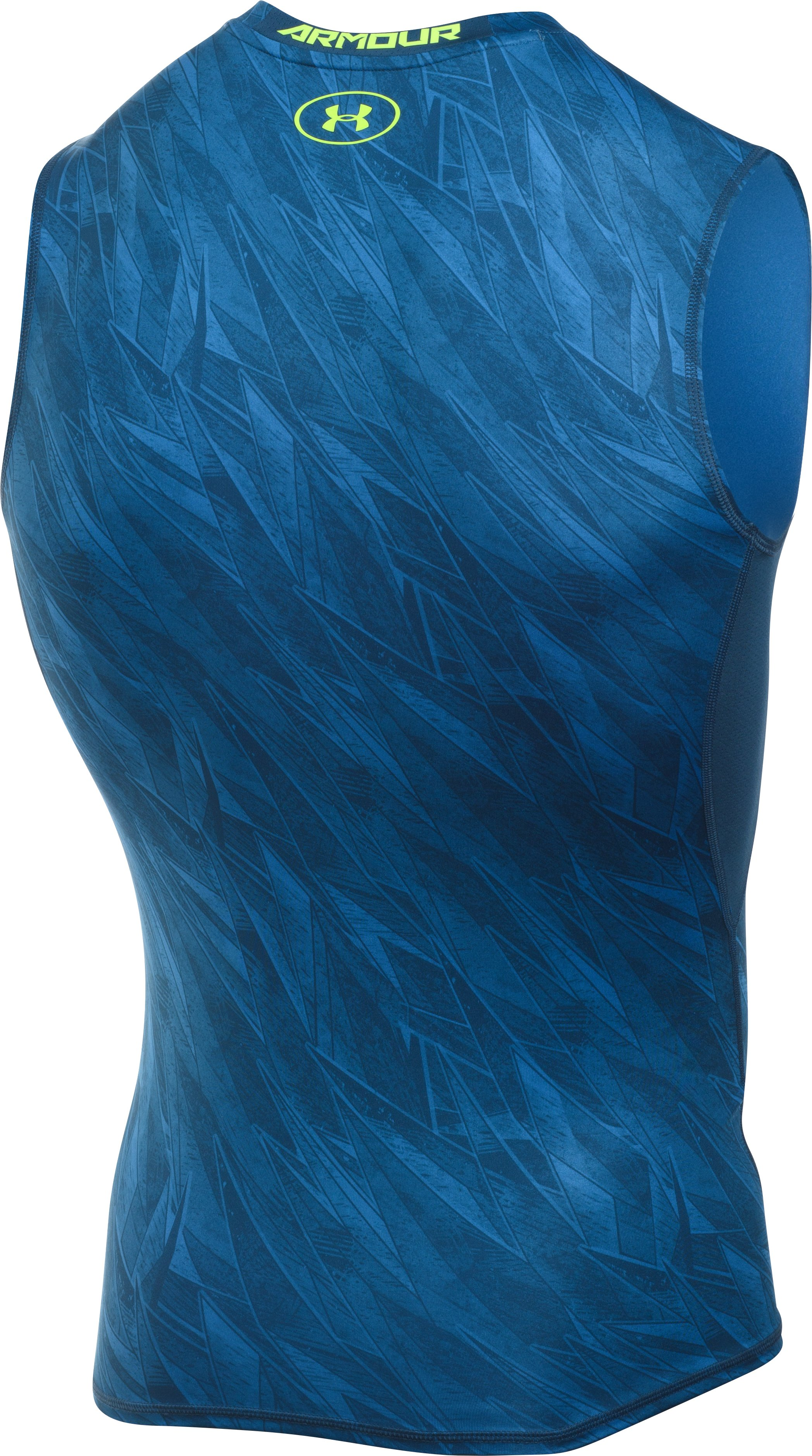 Men's UA HeatGear® Armour Printed Sleeveless Compression Shirt, Squadron, undefined