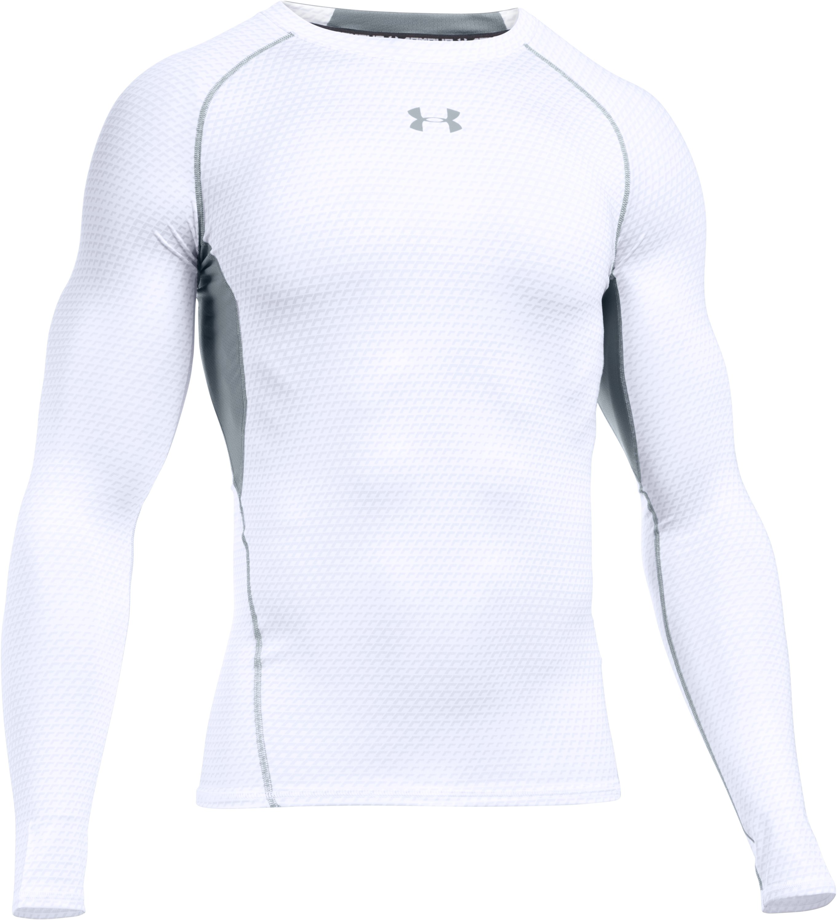 Men's UA HeatGear® Armour Printed Long Sleeve Compression Shirt, White,