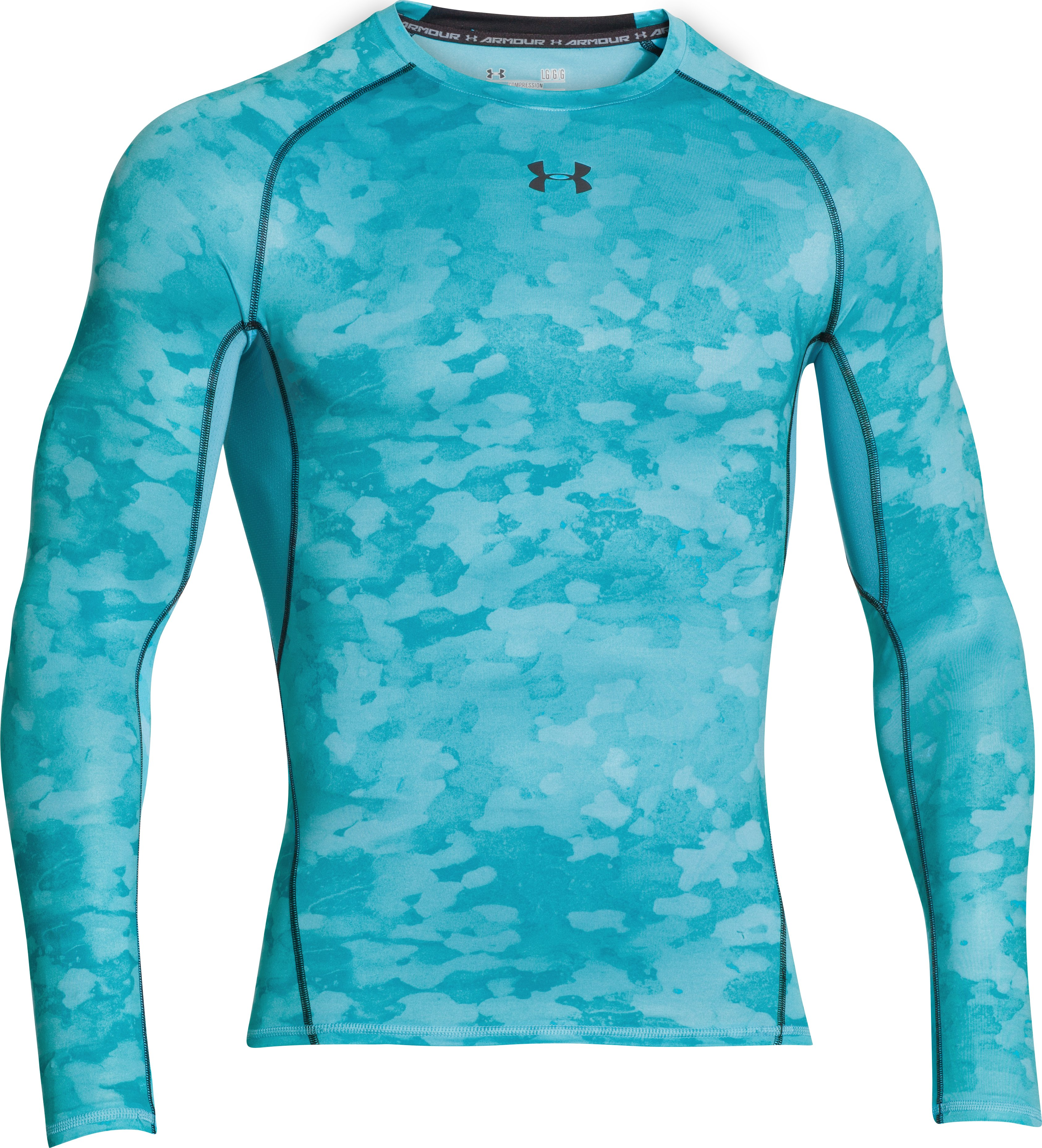 Men's UA HeatGear® Armour Printed Long Sleeve Compression Shirt, ISLAND BLUES, undefined