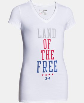 Girls' UA Land Of The Free V-Neck  1 Color $14.99