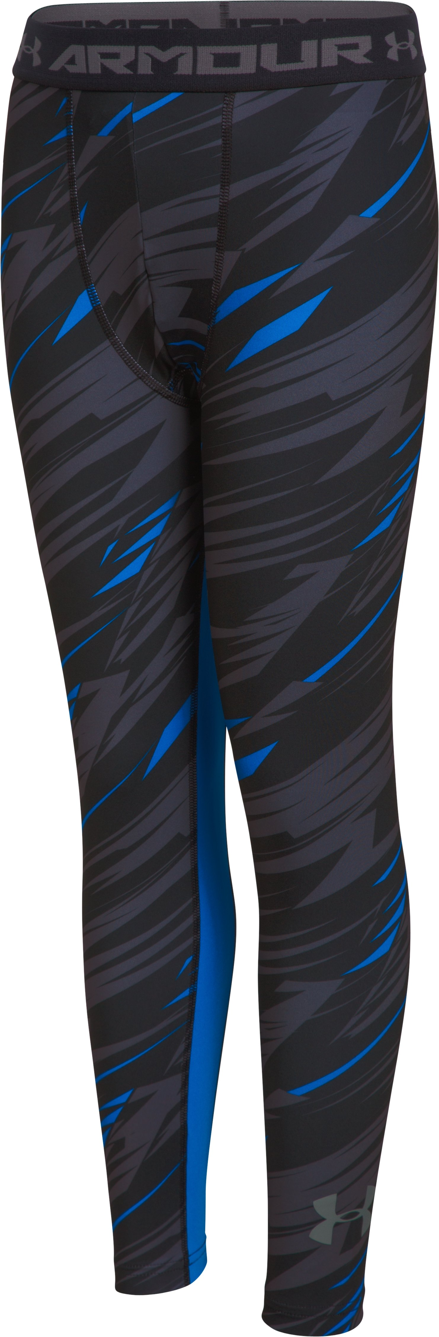 Boys' UA HeatGear® Armour Printed Fitted Leggings, Black ,