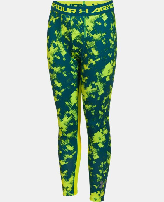 Boys' UA HeatGear® Armour Printed Fitted Leggings   $22.49