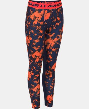 Boys' UA HeatGear® Armour Printed Fitted Leggings   $23.99